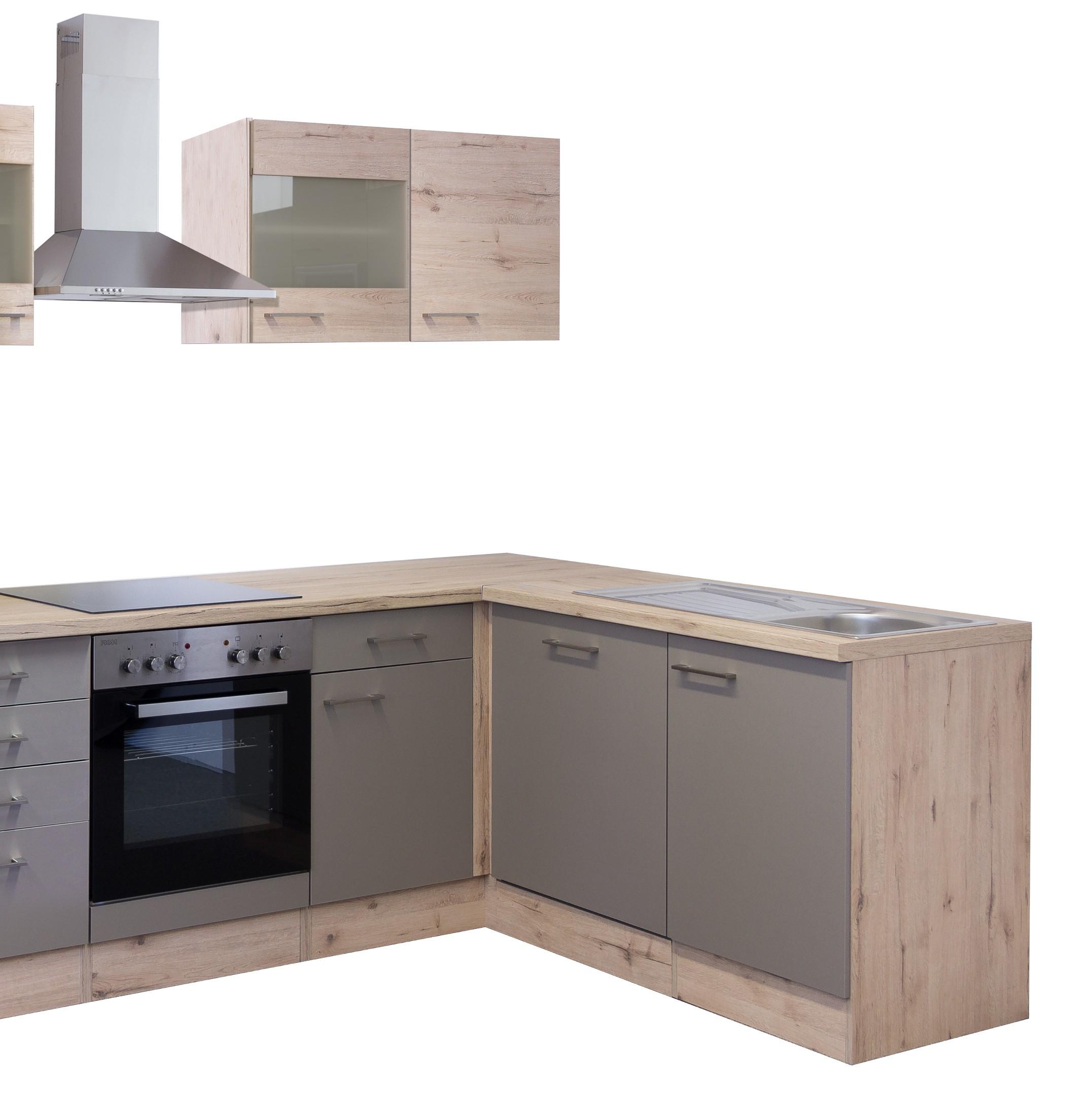 Eckküche RIVA - Küche mit E-Geräten - Breite 280 x 170 cm - Bronze ...