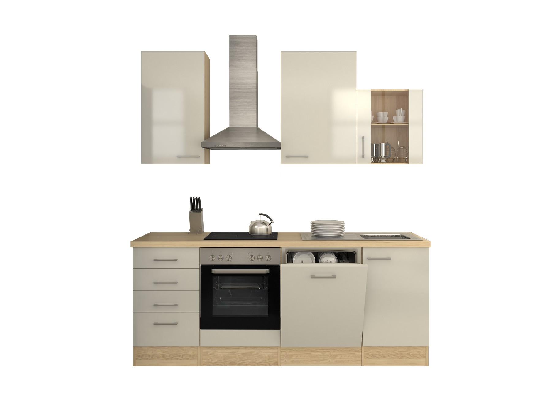 k chenzeile florenz k che mit e ger ten und kamin abzugshaube breite 220 cm perlmutt wei. Black Bedroom Furniture Sets. Home Design Ideas