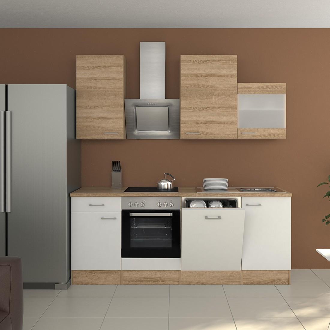 k chenzeile rom k che mit e ger ten und glash nger breite 220 cm wei k che k chenzeilen. Black Bedroom Furniture Sets. Home Design Ideas