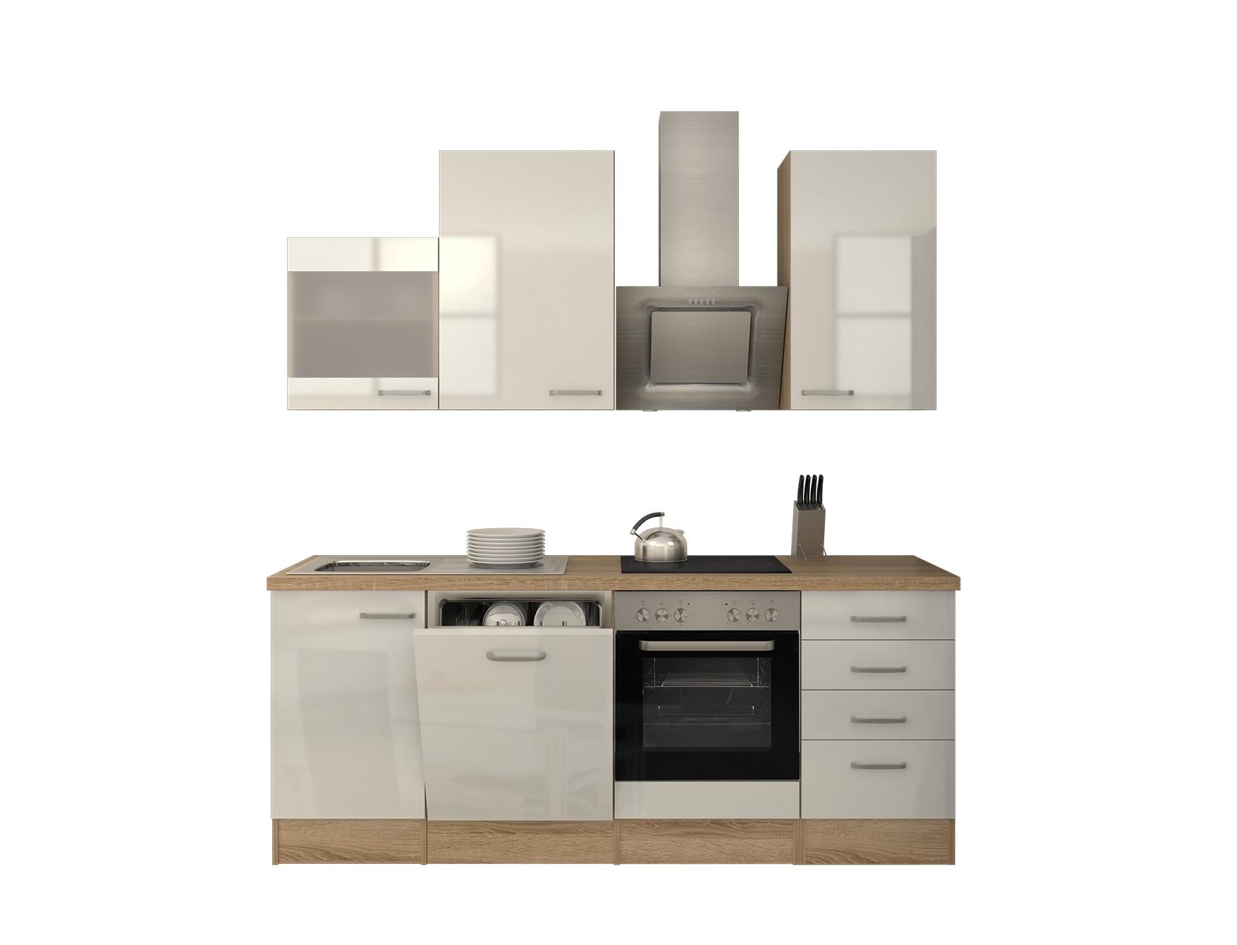 k chenzeile venedig k che mit est haube und auszugsschrank breite 220 cm wei k che. Black Bedroom Furniture Sets. Home Design Ideas