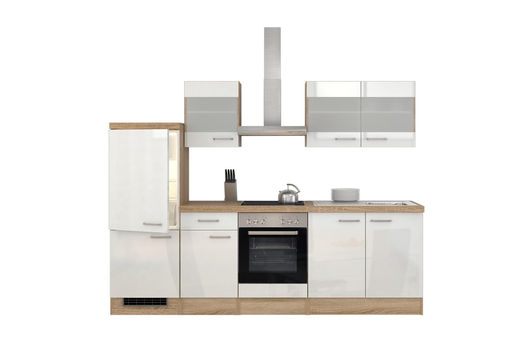 k chenzeile venedig mit midi umbauschrank und e ger ten 12 teilig breite 270 cm wei. Black Bedroom Furniture Sets. Home Design Ideas
