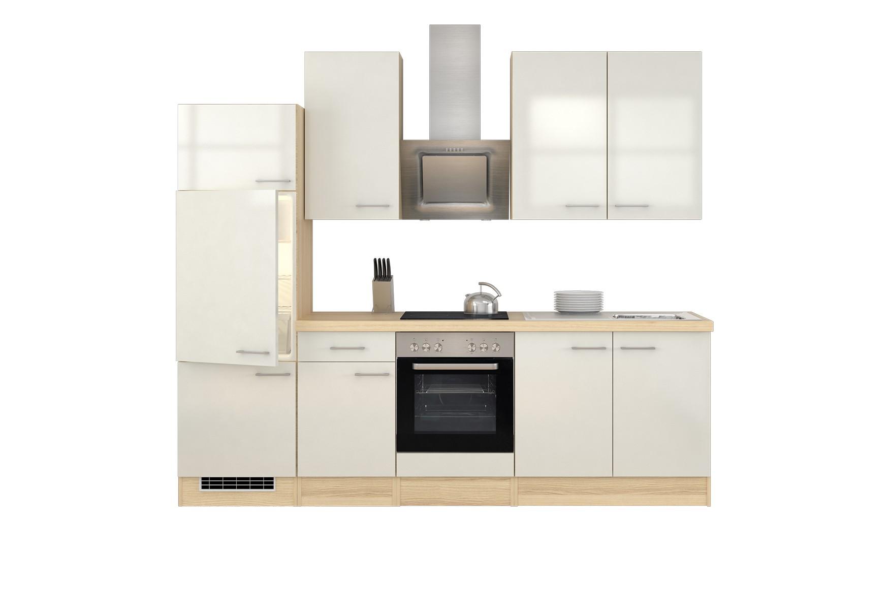 k chenzeile florenz k che mit e ger ten und est haube breite 270 cm perlmutt wei k che. Black Bedroom Furniture Sets. Home Design Ideas