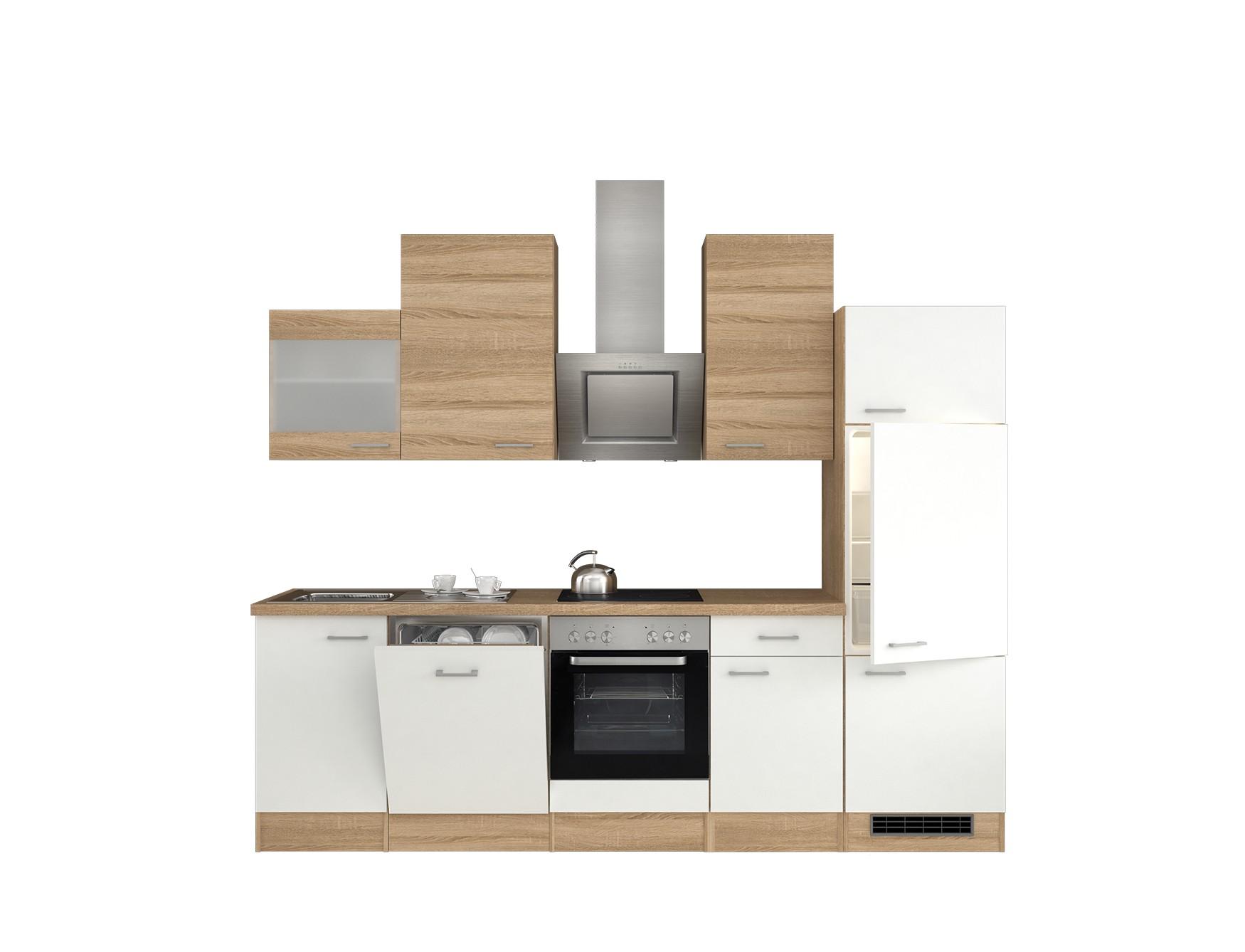 k chenzeile rom k che mit e ger ten und glash nger 14 teilig breite 280 cm wei k che. Black Bedroom Furniture Sets. Home Design Ideas