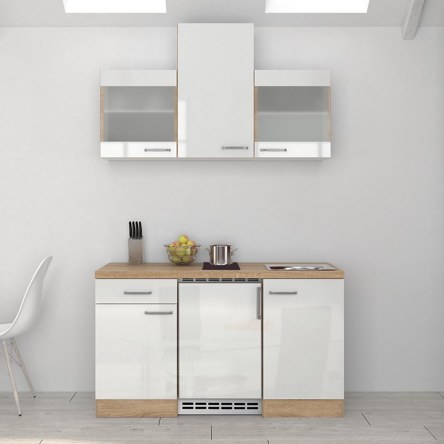singlek che venedig mit 2er glaskeramik kochfeld breite 150 cm wei k che singlek chen. Black Bedroom Furniture Sets. Home Design Ideas