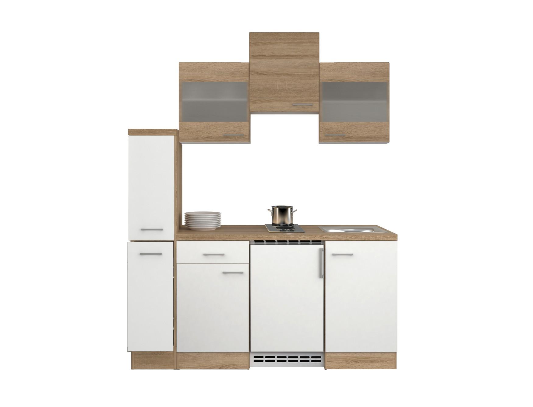 singlek che rom mit 2 glash ngeschr nken breite 180 cm wei k che singlek chen. Black Bedroom Furniture Sets. Home Design Ideas
