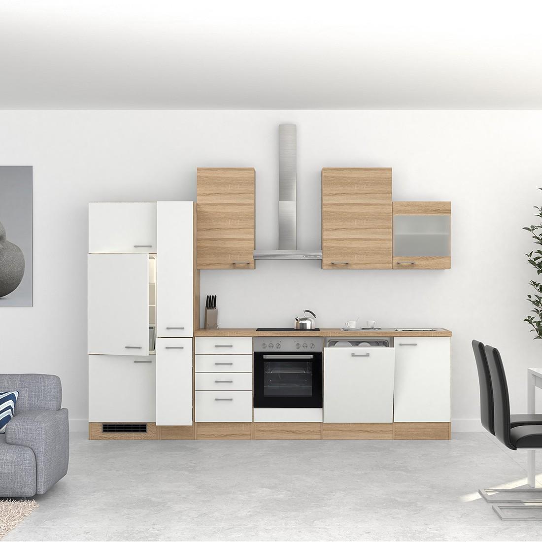 k chenzeile rom k che mit e ger ten und 1 glash nger 15 teilig breite 310 cm wei k che. Black Bedroom Furniture Sets. Home Design Ideas