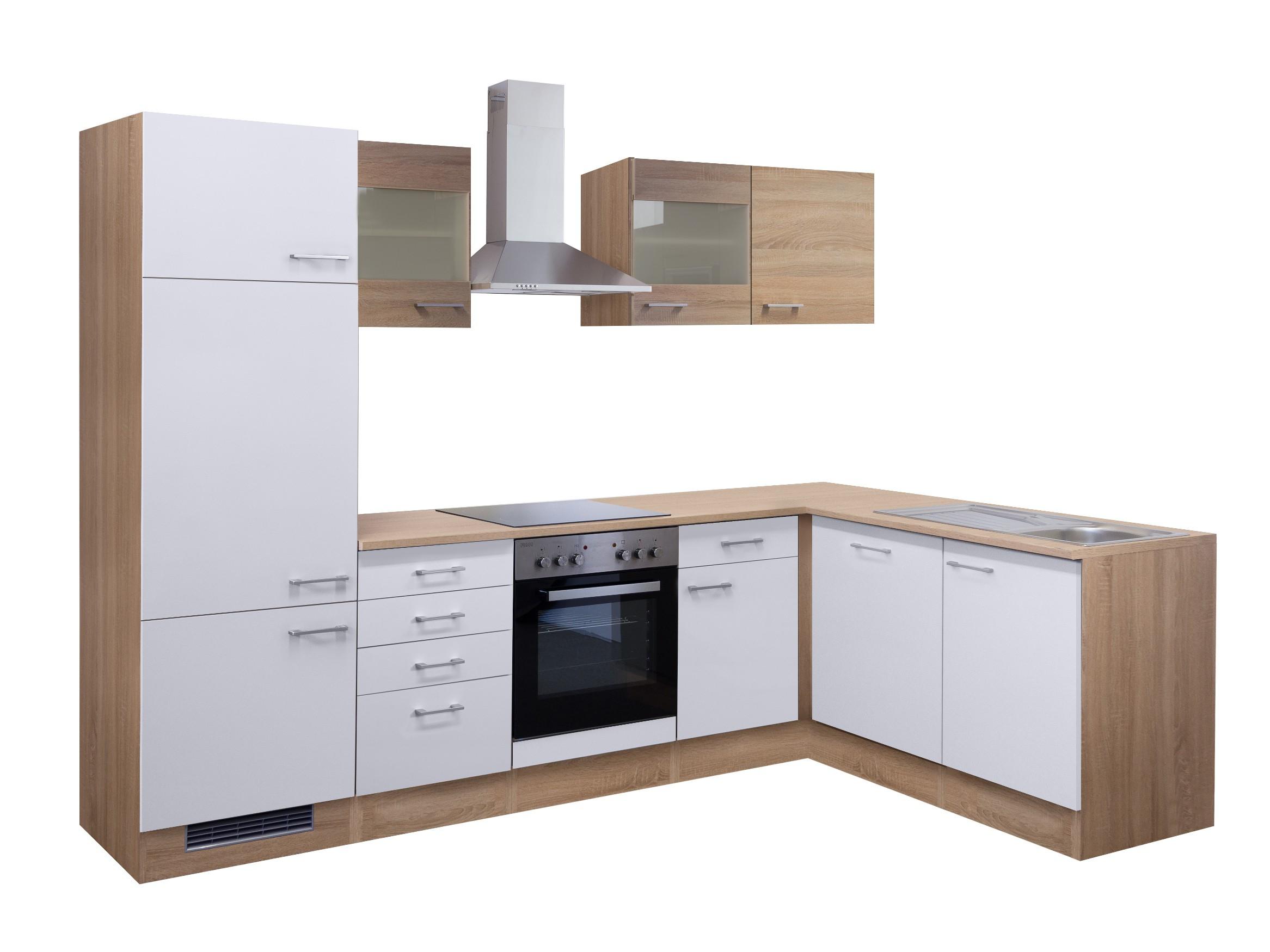 Eckküche ROM Küche in L-Form mit Elektrogeräten. 2 Glashänger. 280 ...