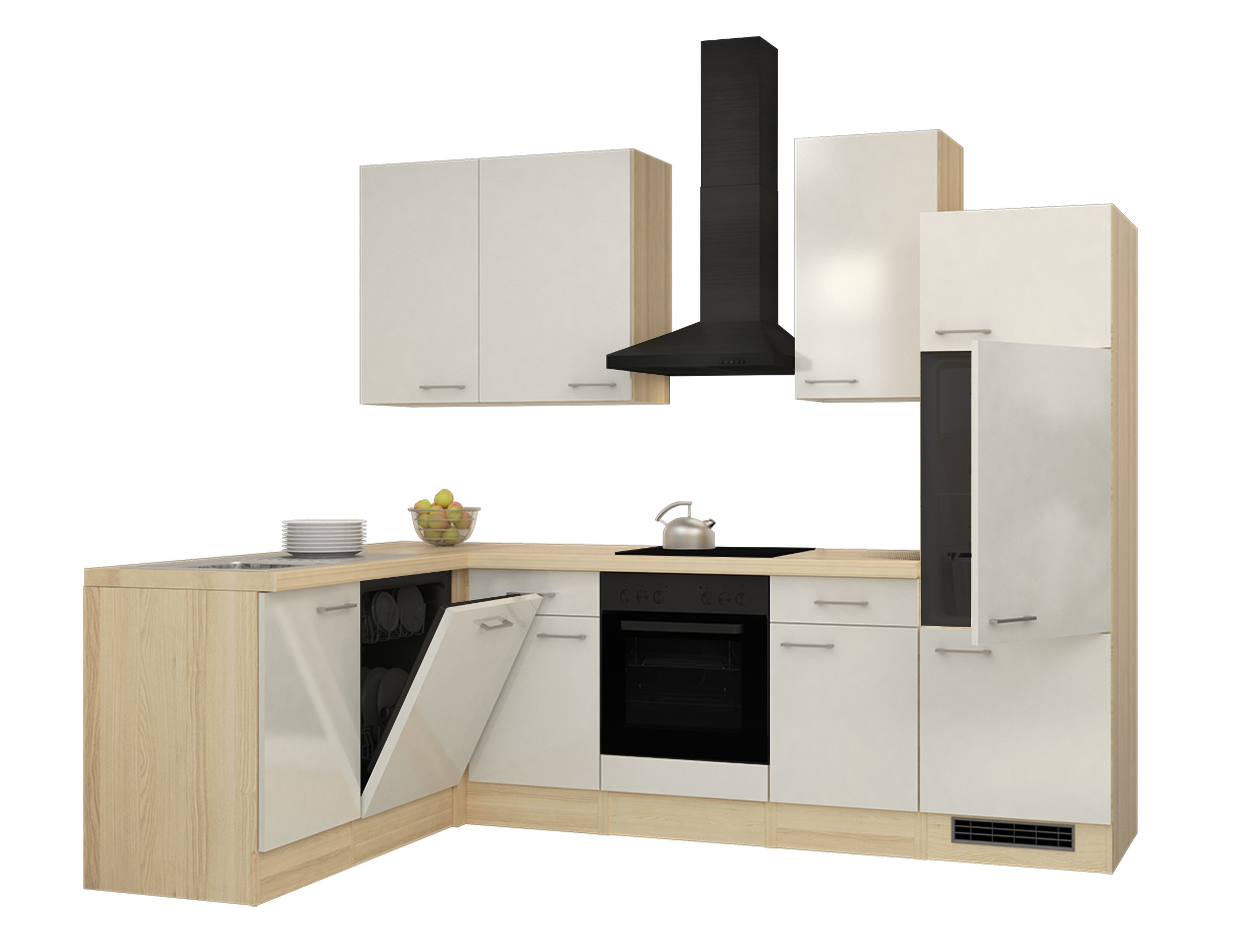 eckk che florenz l k che ohne e ger te breite 280 x 170 cm perlmutt wei k che k chenzeilen. Black Bedroom Furniture Sets. Home Design Ideas