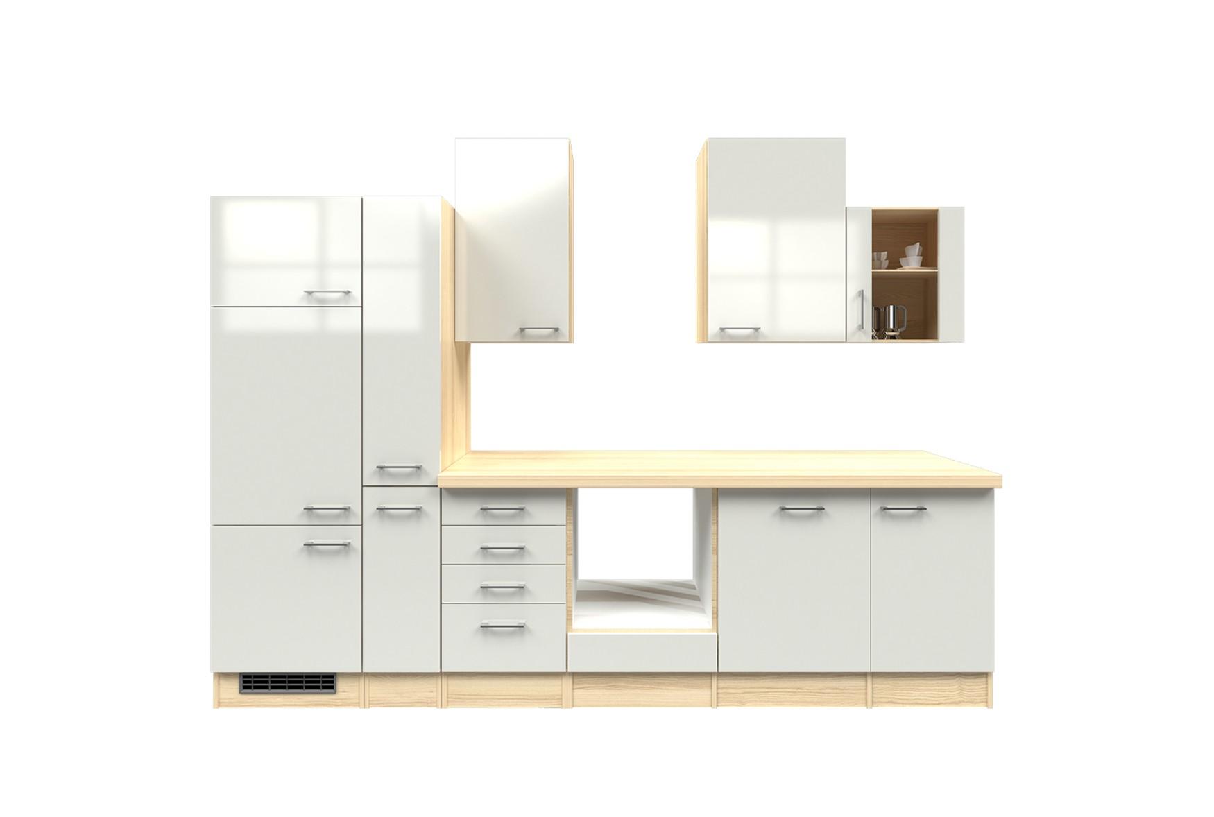 k chenzeile florenz k chen leerblock mit glash nger breite 310 cm perlmutt wei k che. Black Bedroom Furniture Sets. Home Design Ideas