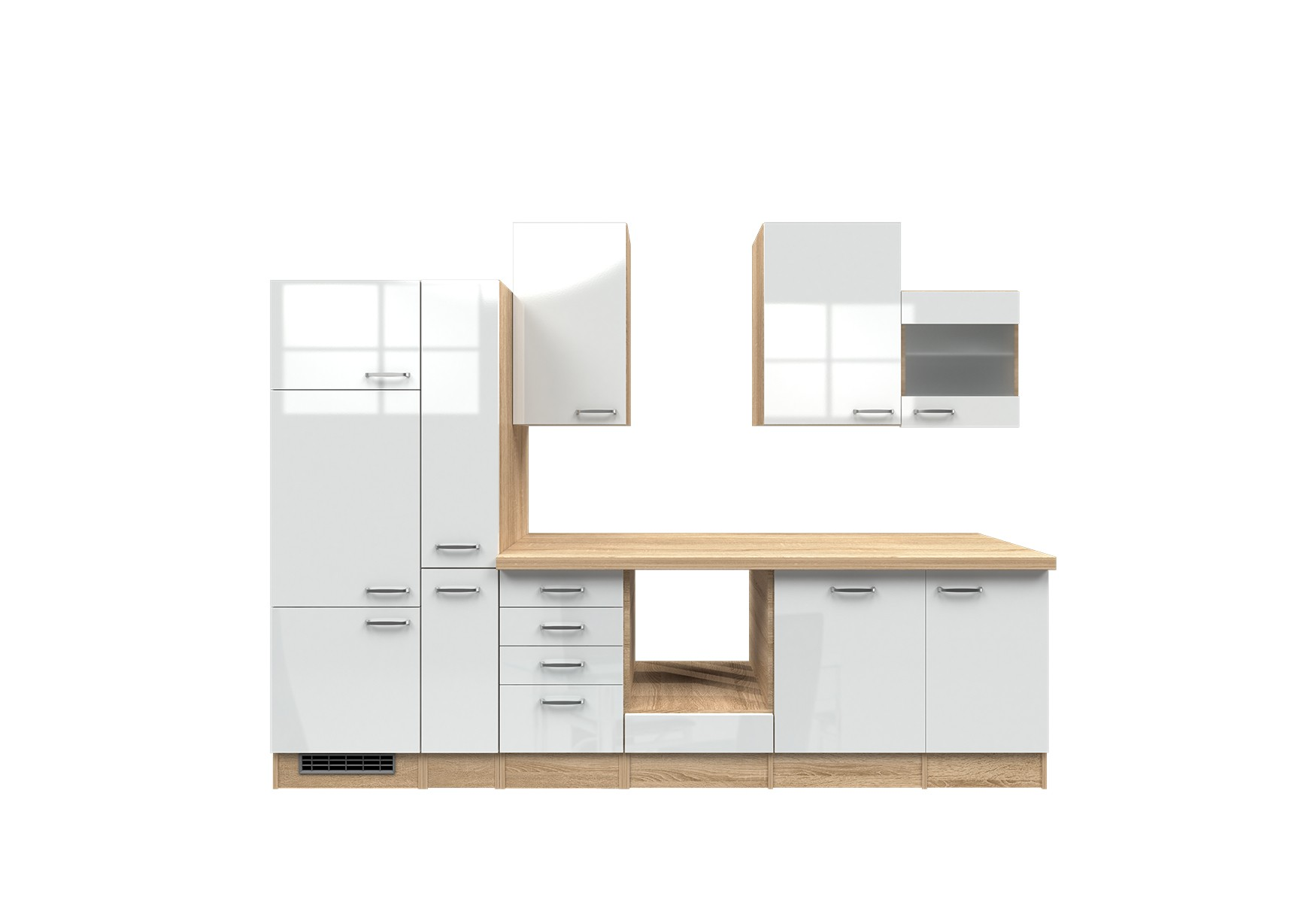 k chenzeile venedig k chen leerblock mit glash nger breite 310 cm wei k che k chenzeilen. Black Bedroom Furniture Sets. Home Design Ideas