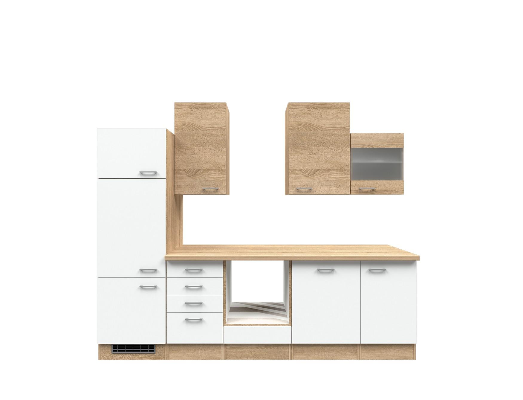 k chenzeile rom k chen leerblock breite 280 cm wei. Black Bedroom Furniture Sets. Home Design Ideas