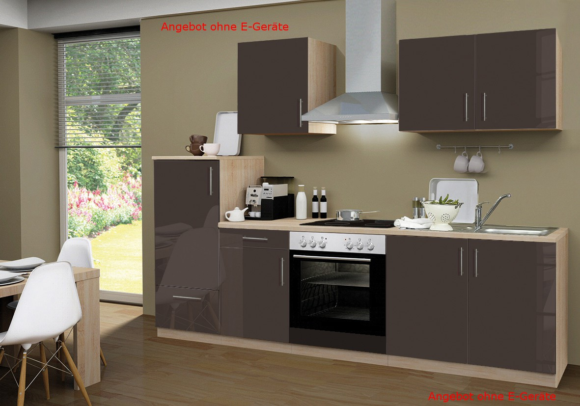 k chenzeile stockholm k chen leerblock 8 teilig breite 270 cm hochglanz schoko braun. Black Bedroom Furniture Sets. Home Design Ideas