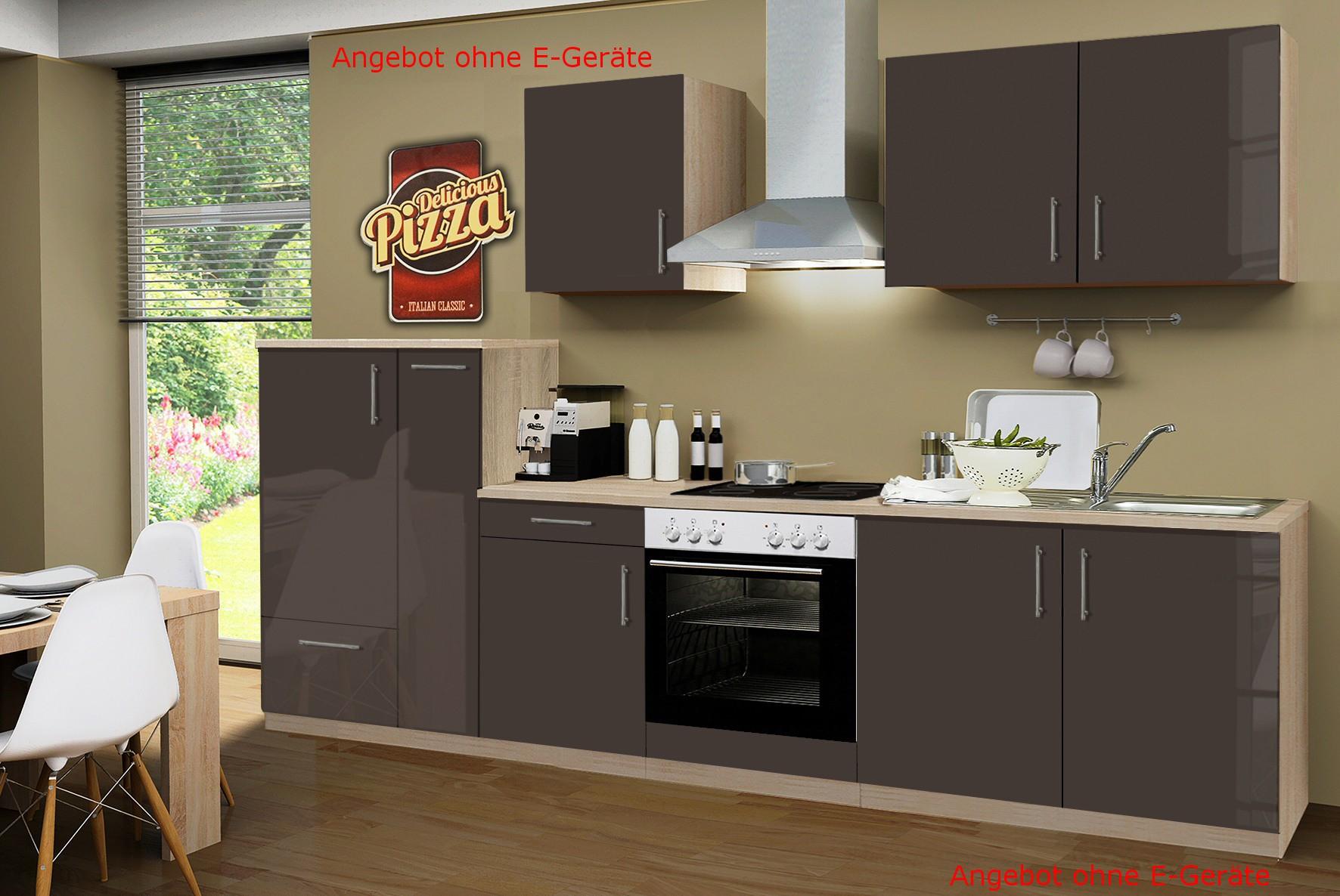 k chenzeile stockholm k chen leerblock 9 teilig breite 300 cm hochglanz schoko braun. Black Bedroom Furniture Sets. Home Design Ideas