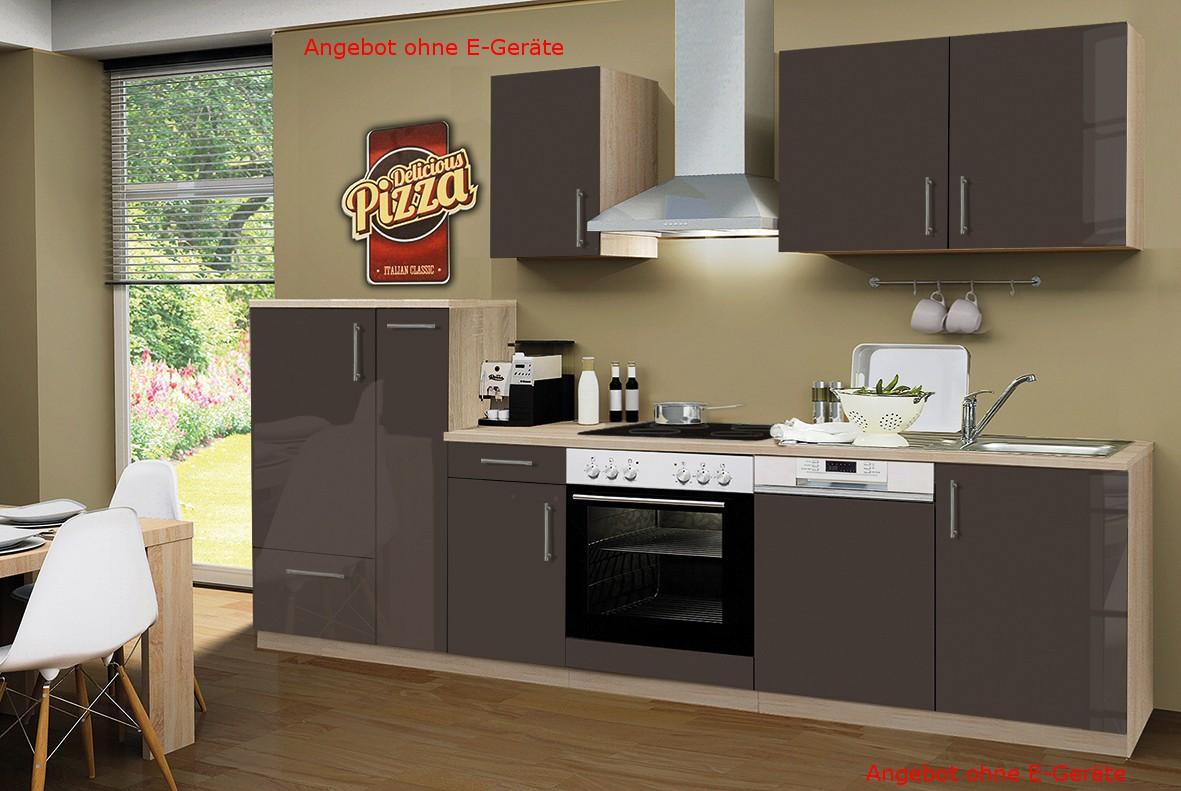 k chenzeile stockholm k chen leerblock 10 teilig breite 300 cm hochglanz schoko braun. Black Bedroom Furniture Sets. Home Design Ideas