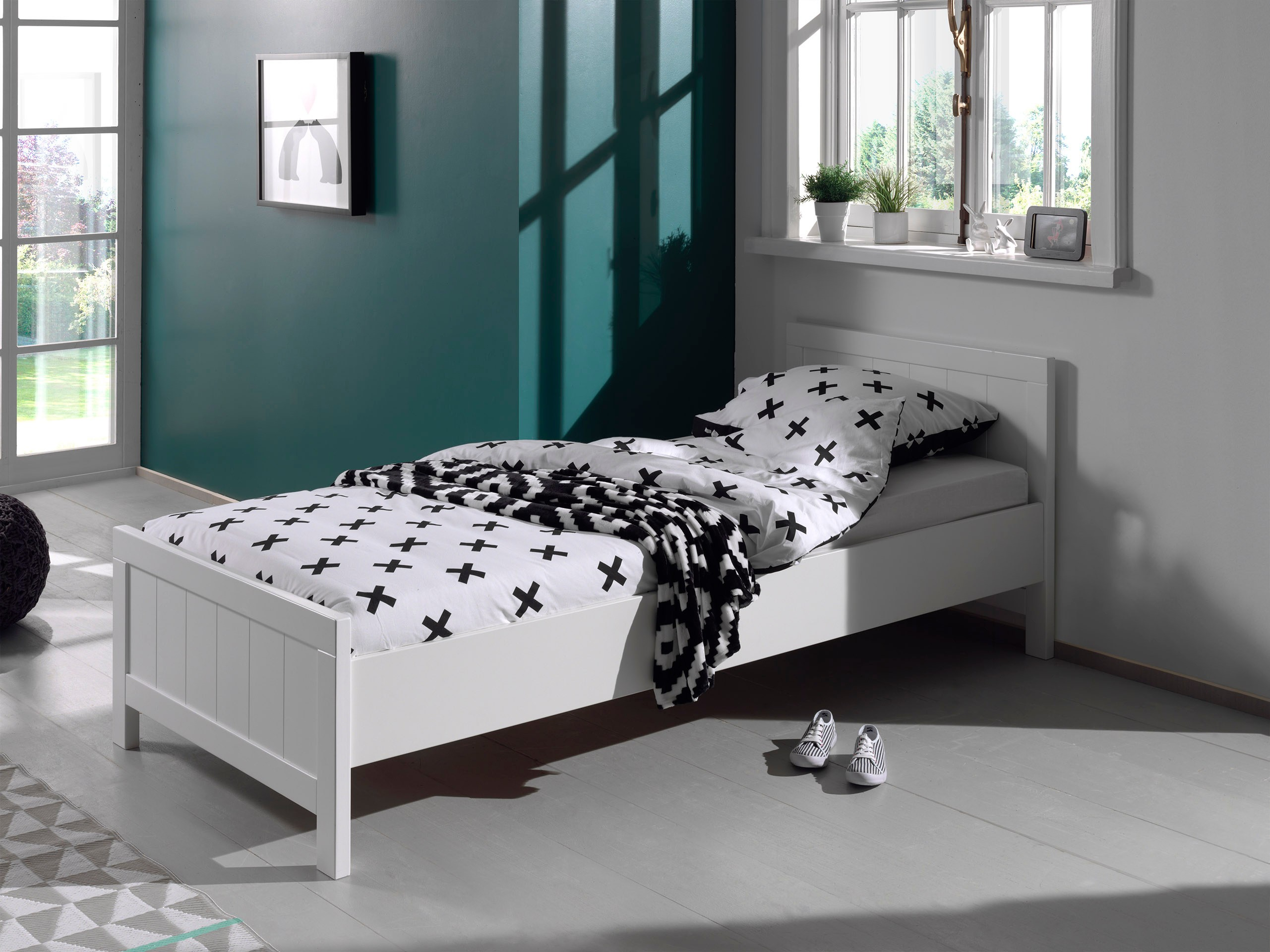 einzelbett erik liegefl che 90 x 200 cm wei wohnen betten. Black Bedroom Furniture Sets. Home Design Ideas