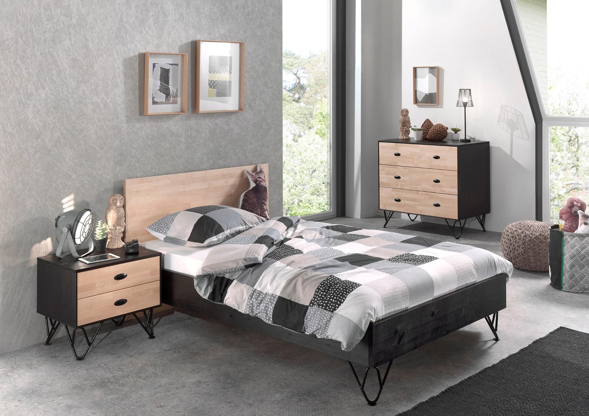 kommode william 3 schubladen birke natur schwarz kinder jugendzimmer beistellm bel. Black Bedroom Furniture Sets. Home Design Ideas