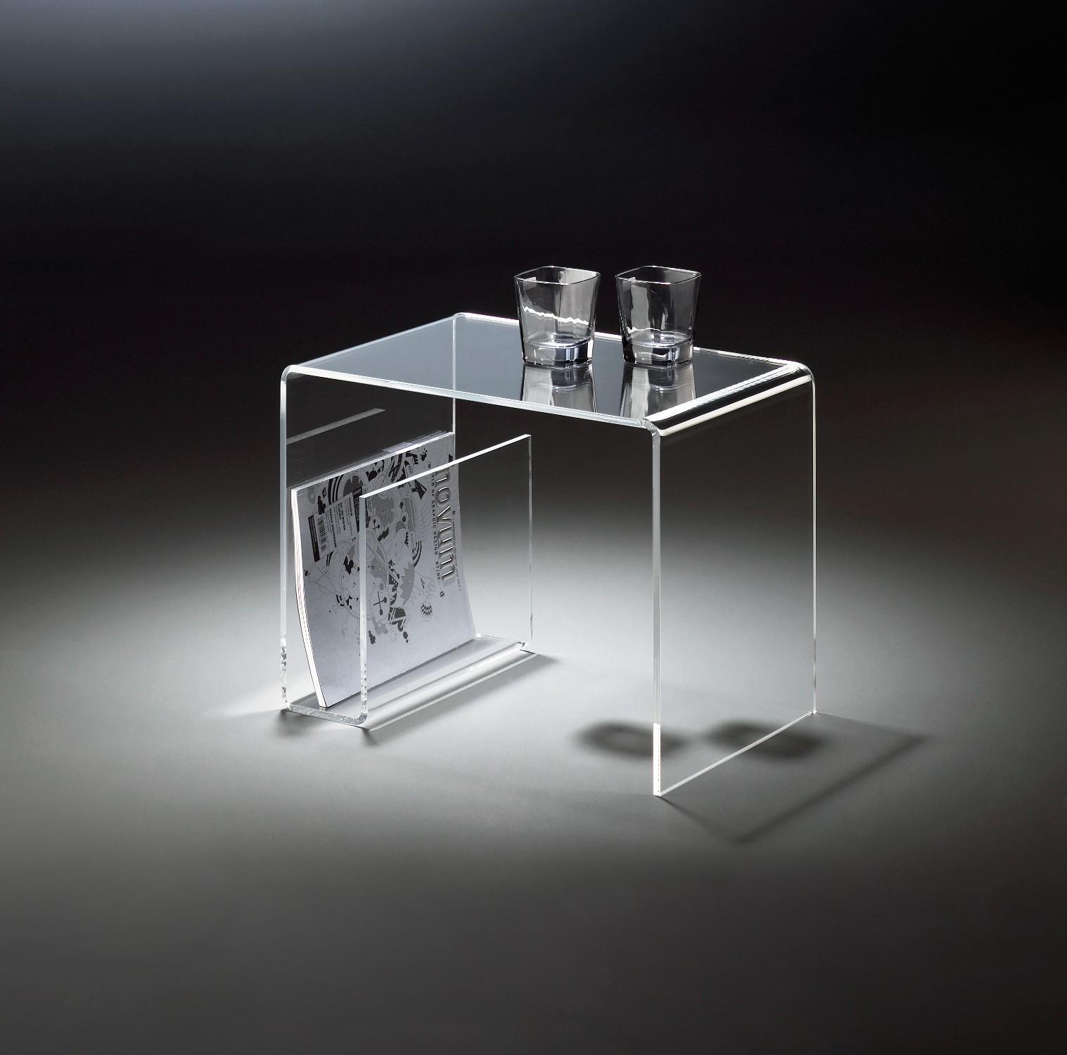 beistelltisch new york mit seitlichem zeitungsfach acrylglas wohnen. Black Bedroom Furniture Sets. Home Design Ideas