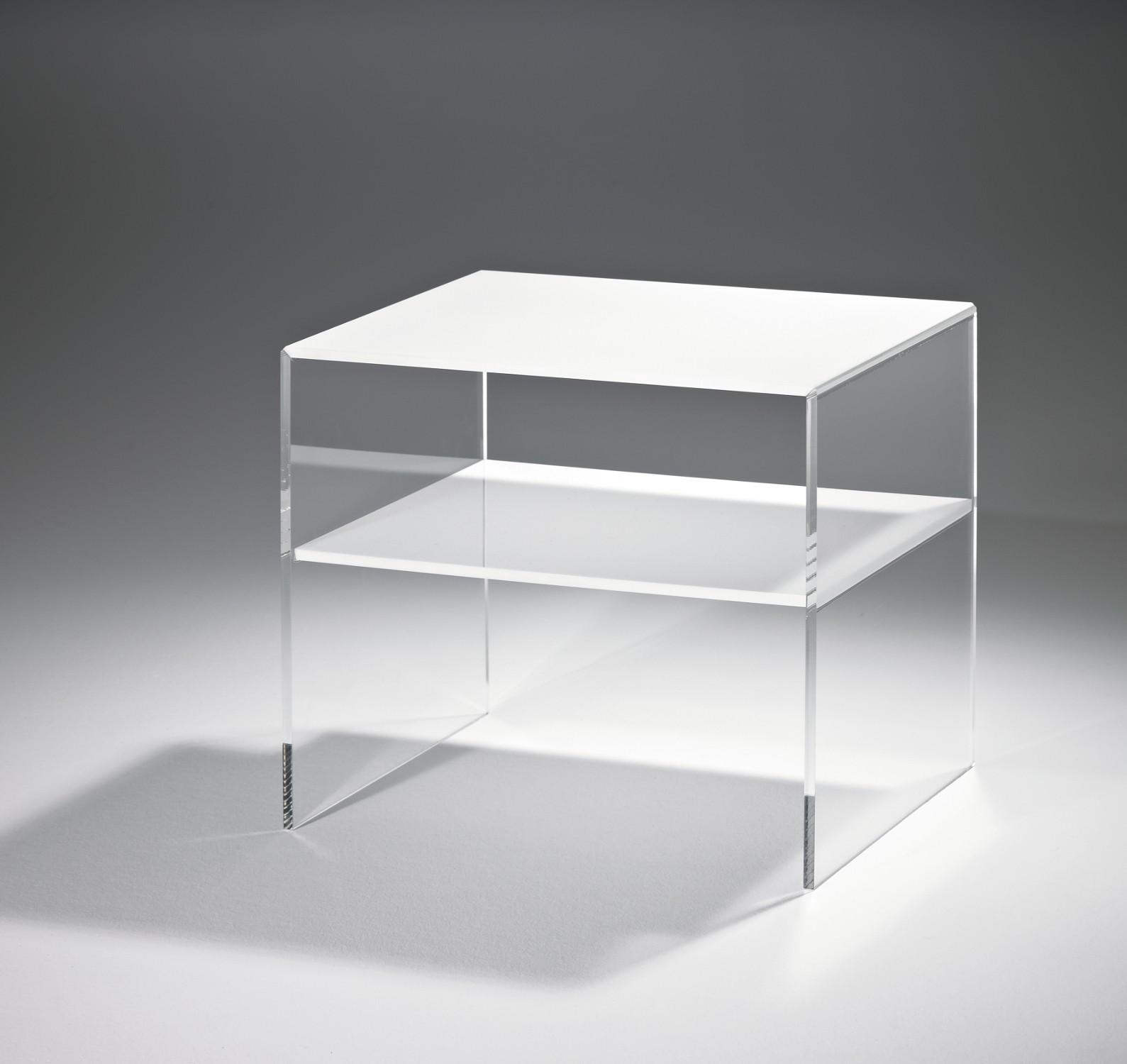 beistelltisch las vegas breite 56 cm acrylglas wei wohnen las vegas. Black Bedroom Furniture Sets. Home Design Ideas