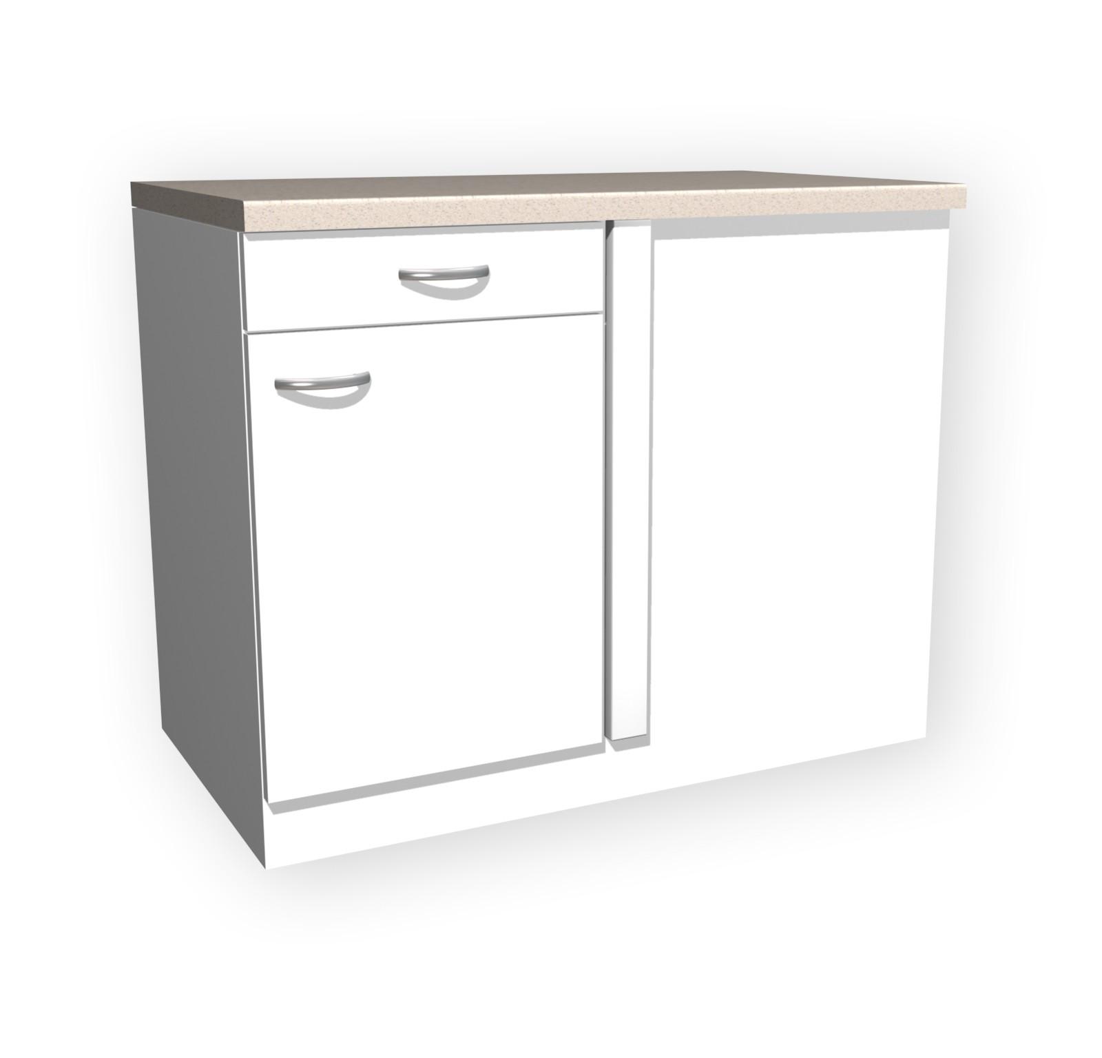 Küchen-Eckunterschrank UNNA - 1-türig - 110 cm breit - Weiß Küche | {Eck unterschrank küche 45}