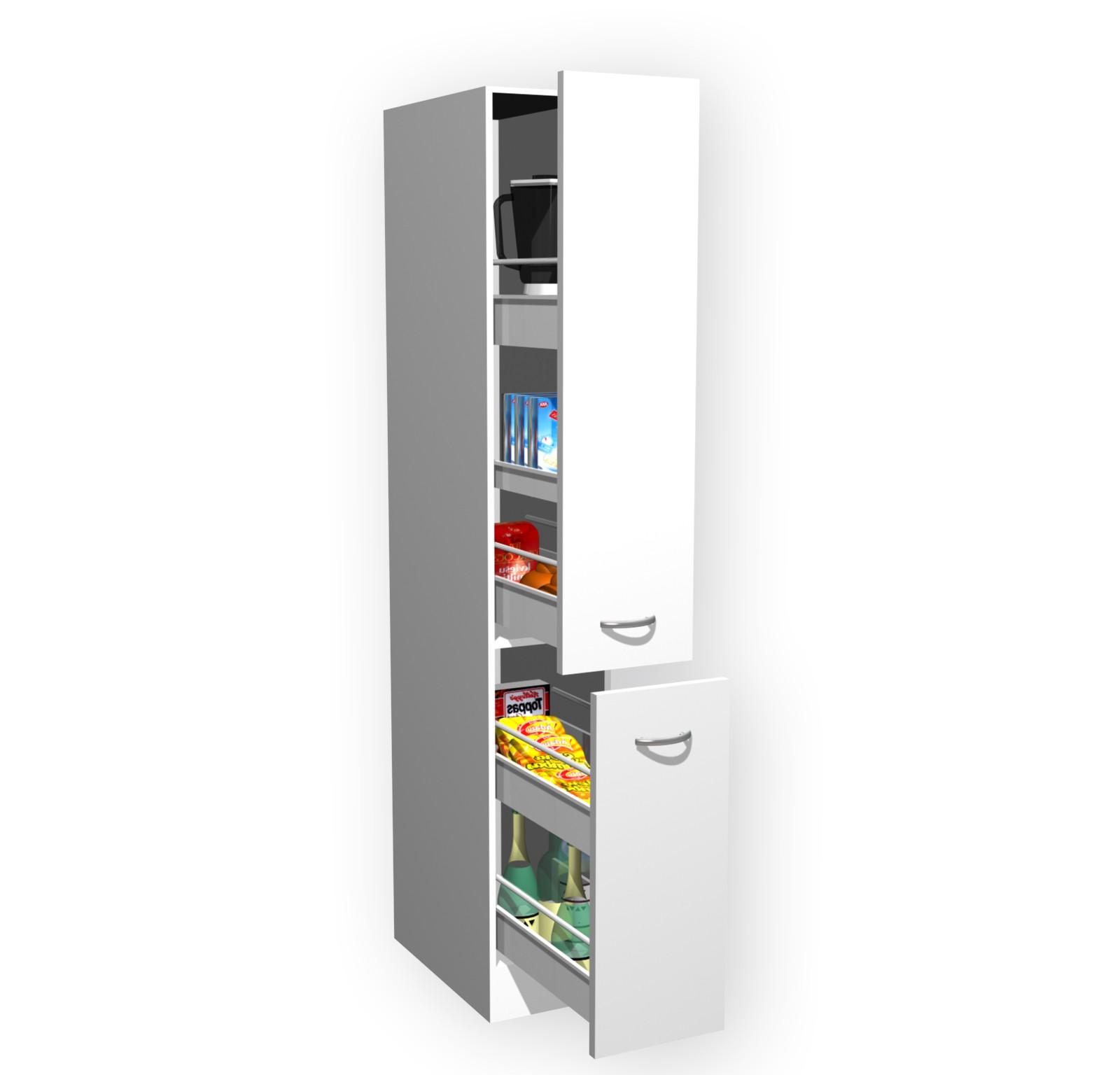 Apothekerschrank küche  Küchen-Apothekerschrank UNNA - 2 Front-Auszüge, 5 Körbe - Weiß Küche