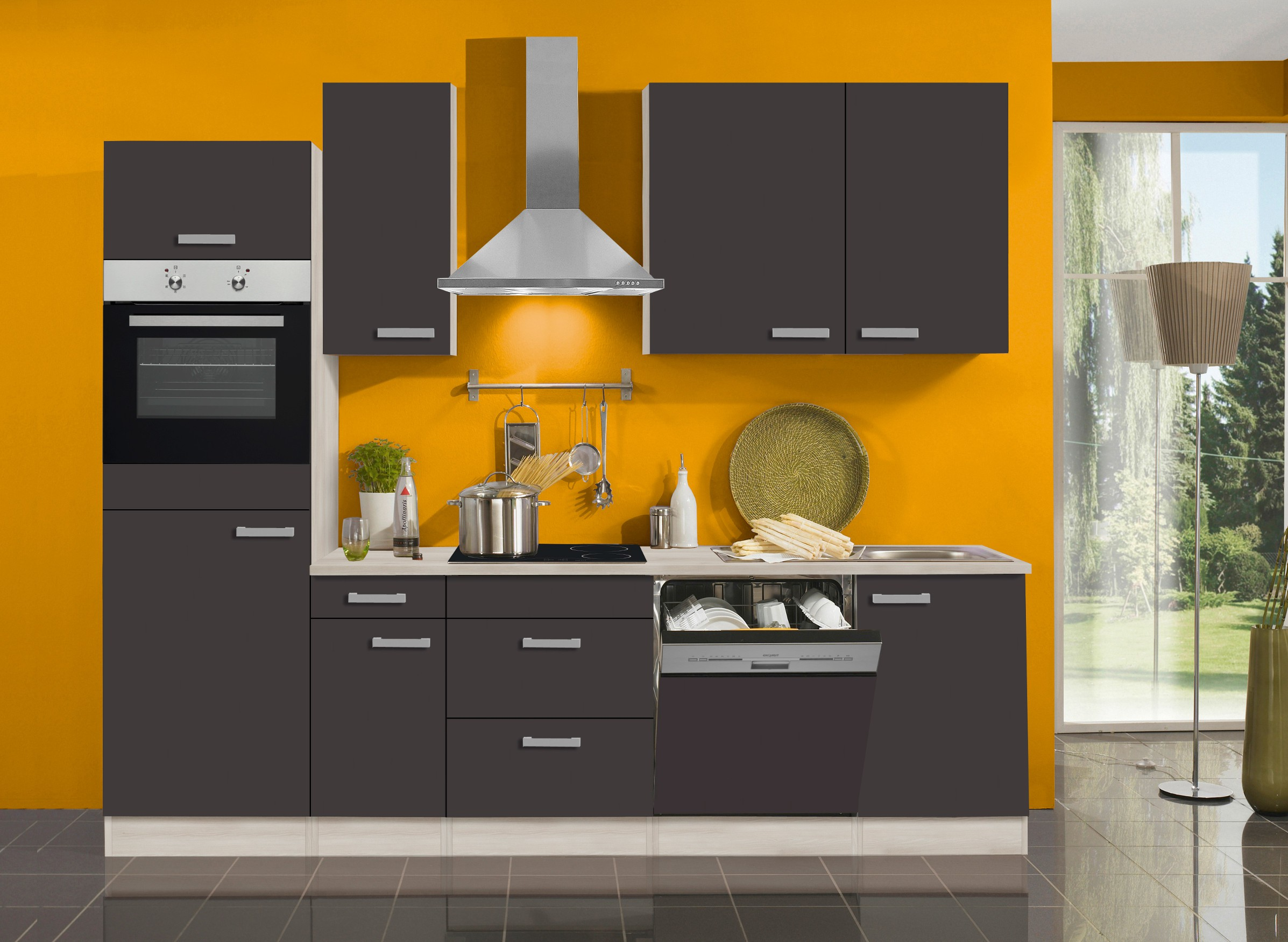 k chenzeile barcelona vario 8 1 k che mit e ger ten breite 270 cm grau k che k chenzeilen. Black Bedroom Furniture Sets. Home Design Ideas