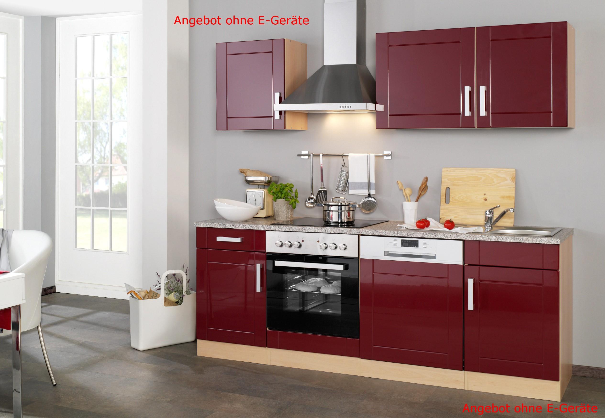 neu k chen leerblock k chenzeile varel k chenblock 220cm rot ebay. Black Bedroom Furniture Sets. Home Design Ideas