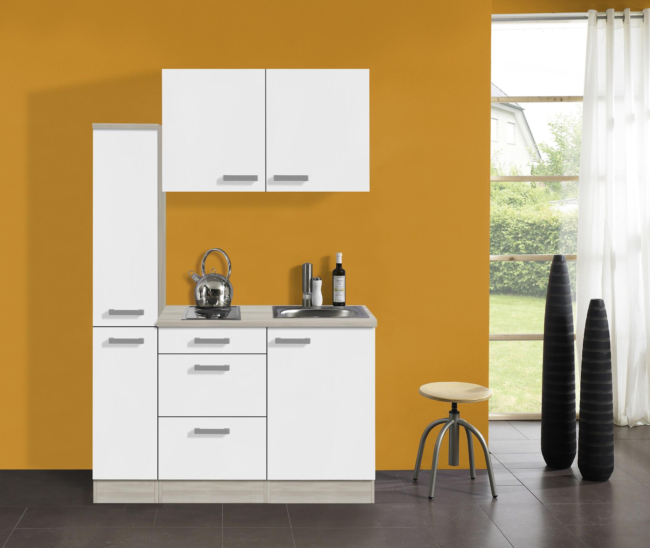 singlek che barcelona mit elektro kochfeld breite 130 cm wei k che. Black Bedroom Furniture Sets. Home Design Ideas