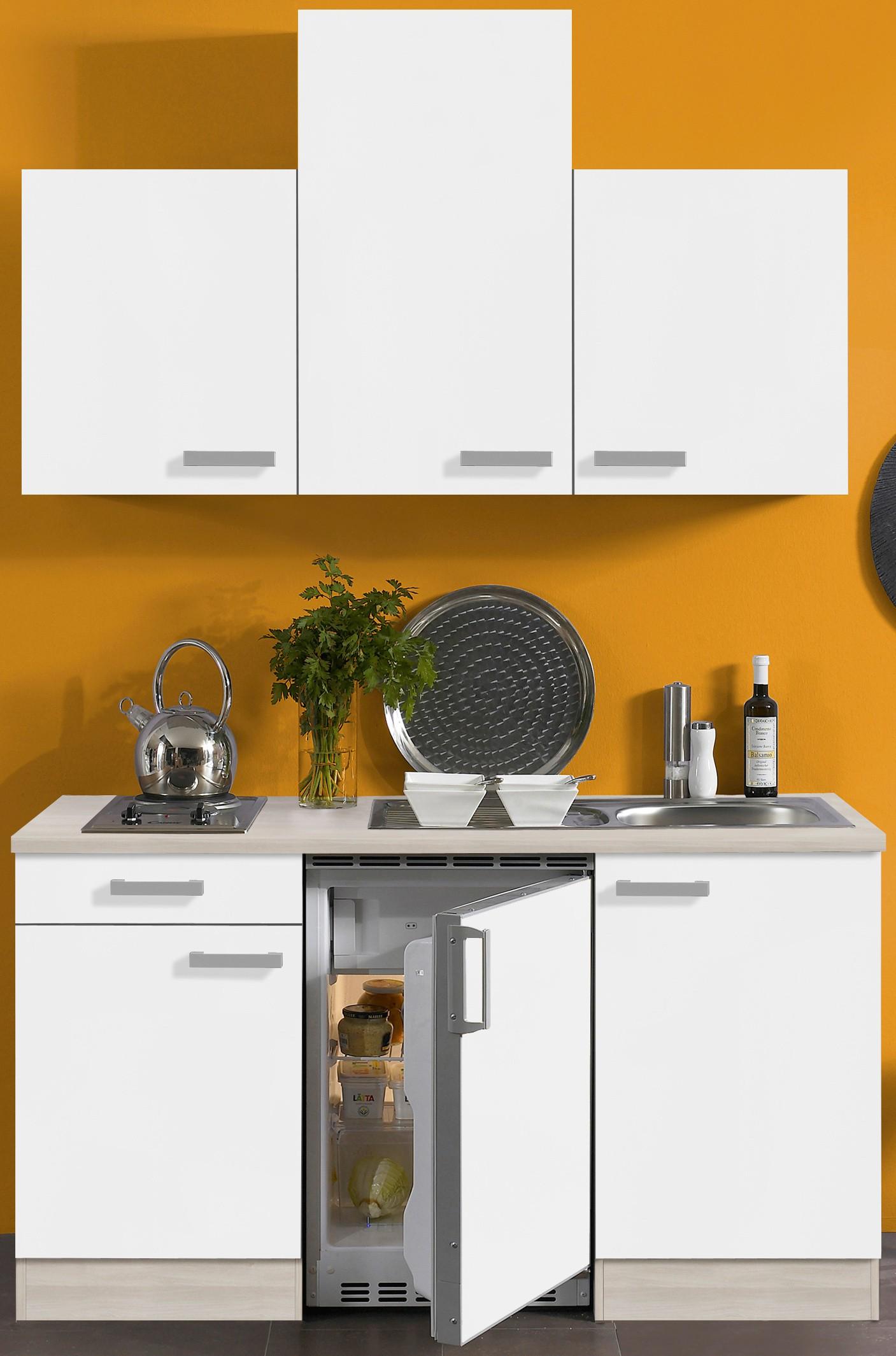 singlek che barcelona vario 2 mit elektro kochfeld breite 150 cm wei k che. Black Bedroom Furniture Sets. Home Design Ideas