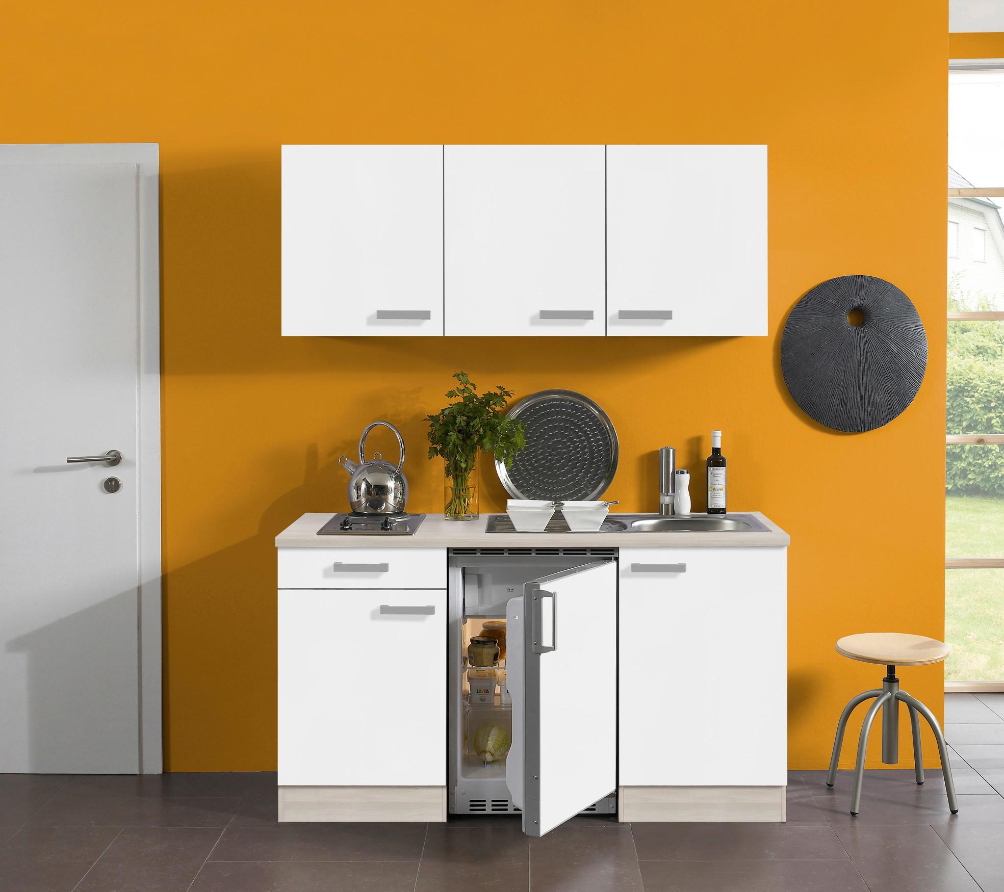 singlek che barcelona mit elektro kochfeld 8 teilig breite 150 cm wei k che. Black Bedroom Furniture Sets. Home Design Ideas