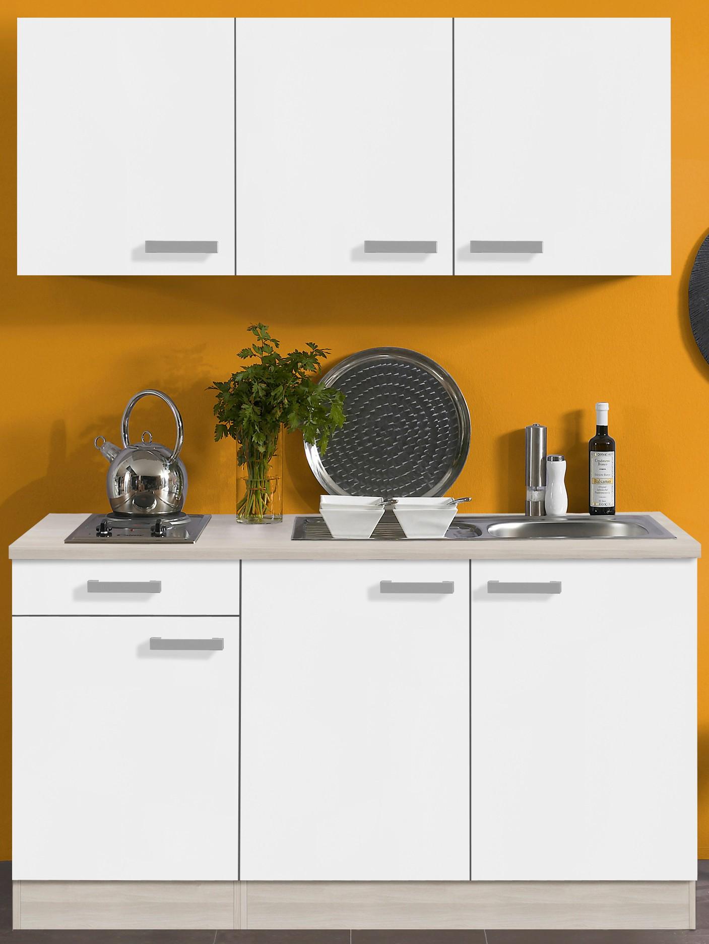 singlek che barcelona mit elektro kochfeld 7 teilig breite 150 cm wei k che. Black Bedroom Furniture Sets. Home Design Ideas