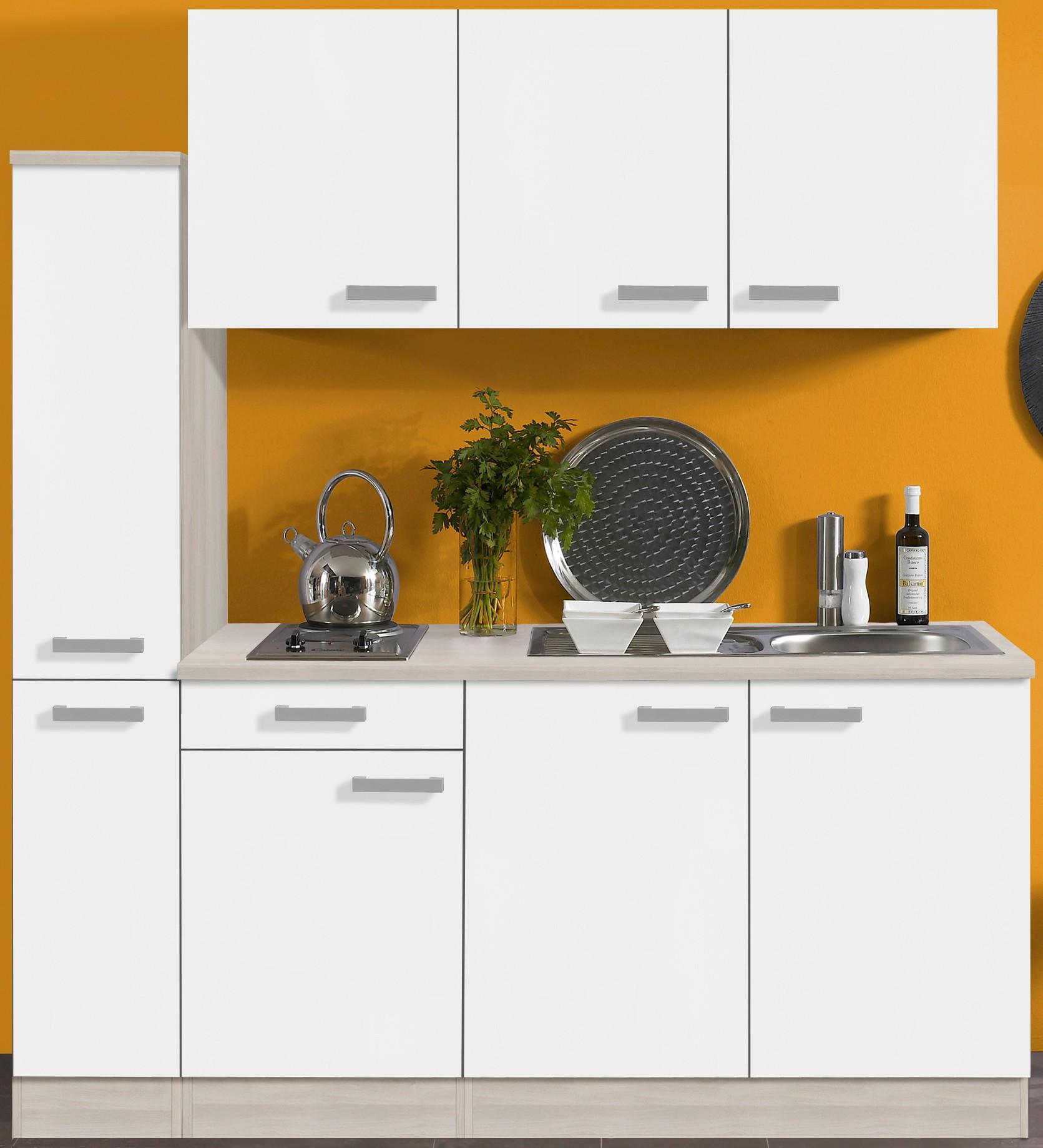 singlek che barcelona mit elektro kochfeld 8 teilig breite 180 cm wei k che. Black Bedroom Furniture Sets. Home Design Ideas