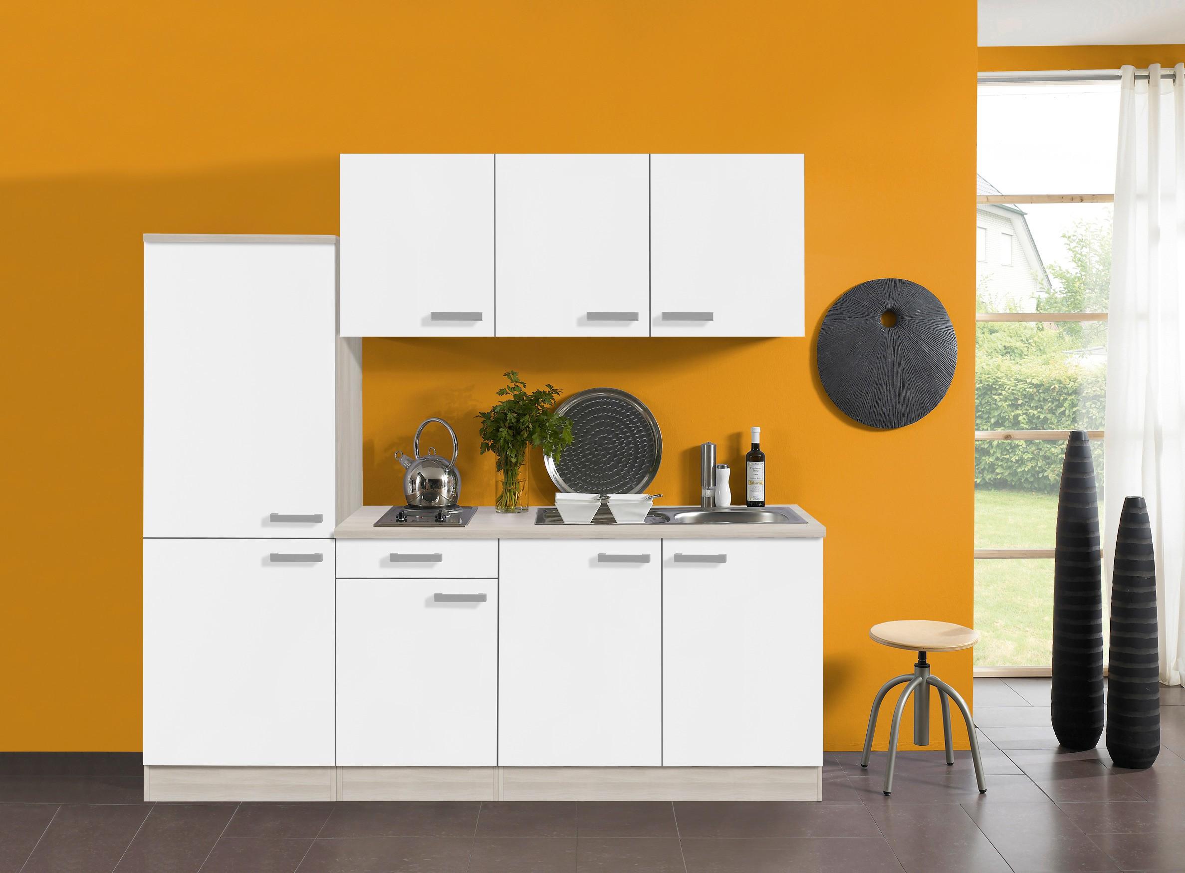 singlek che barcelona vario 2 elektro 9 teilig breite 210 cm wei k che. Black Bedroom Furniture Sets. Home Design Ideas