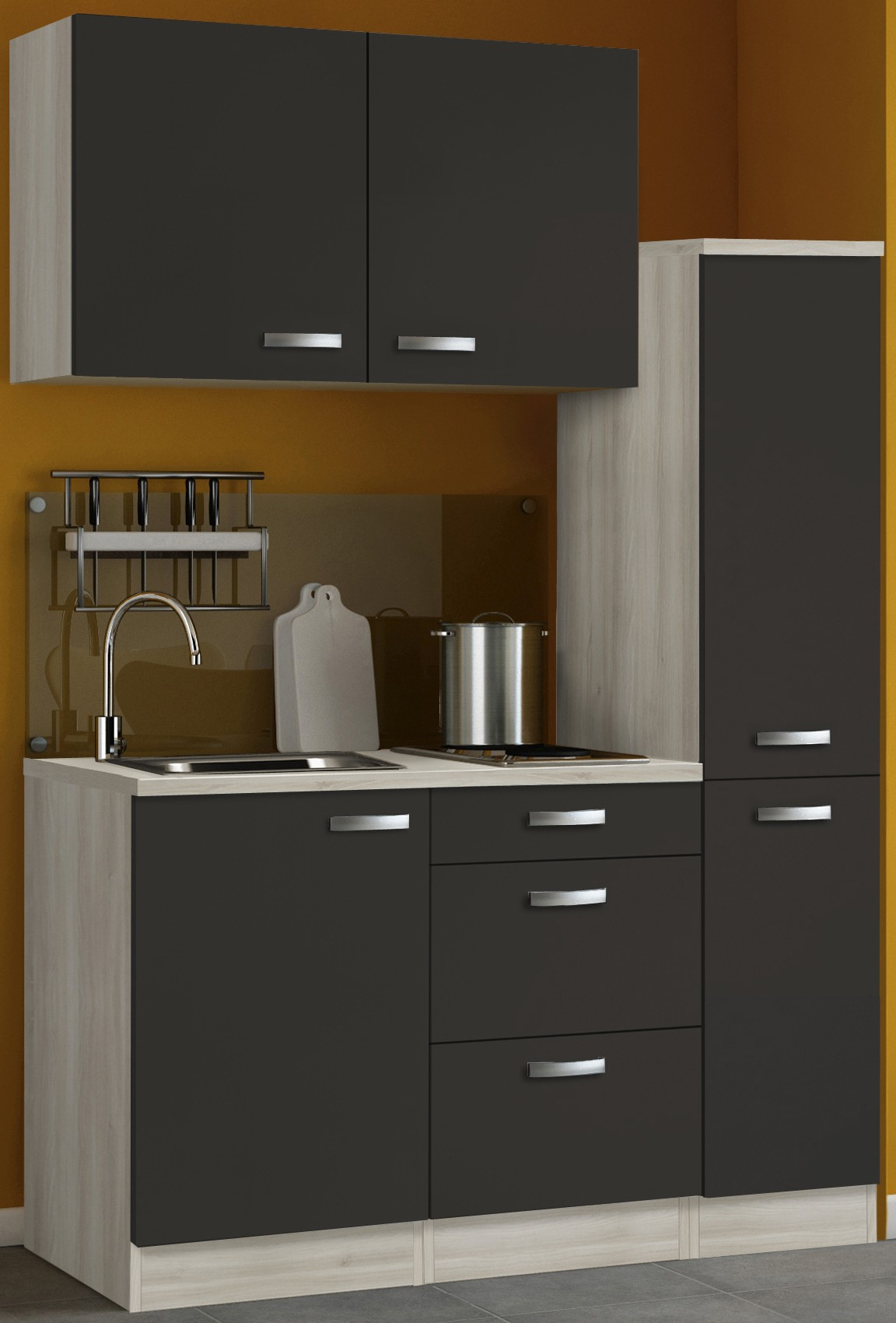 singlek che barcelona mit elektro kochfeld breite 130 cm grau k che. Black Bedroom Furniture Sets. Home Design Ideas