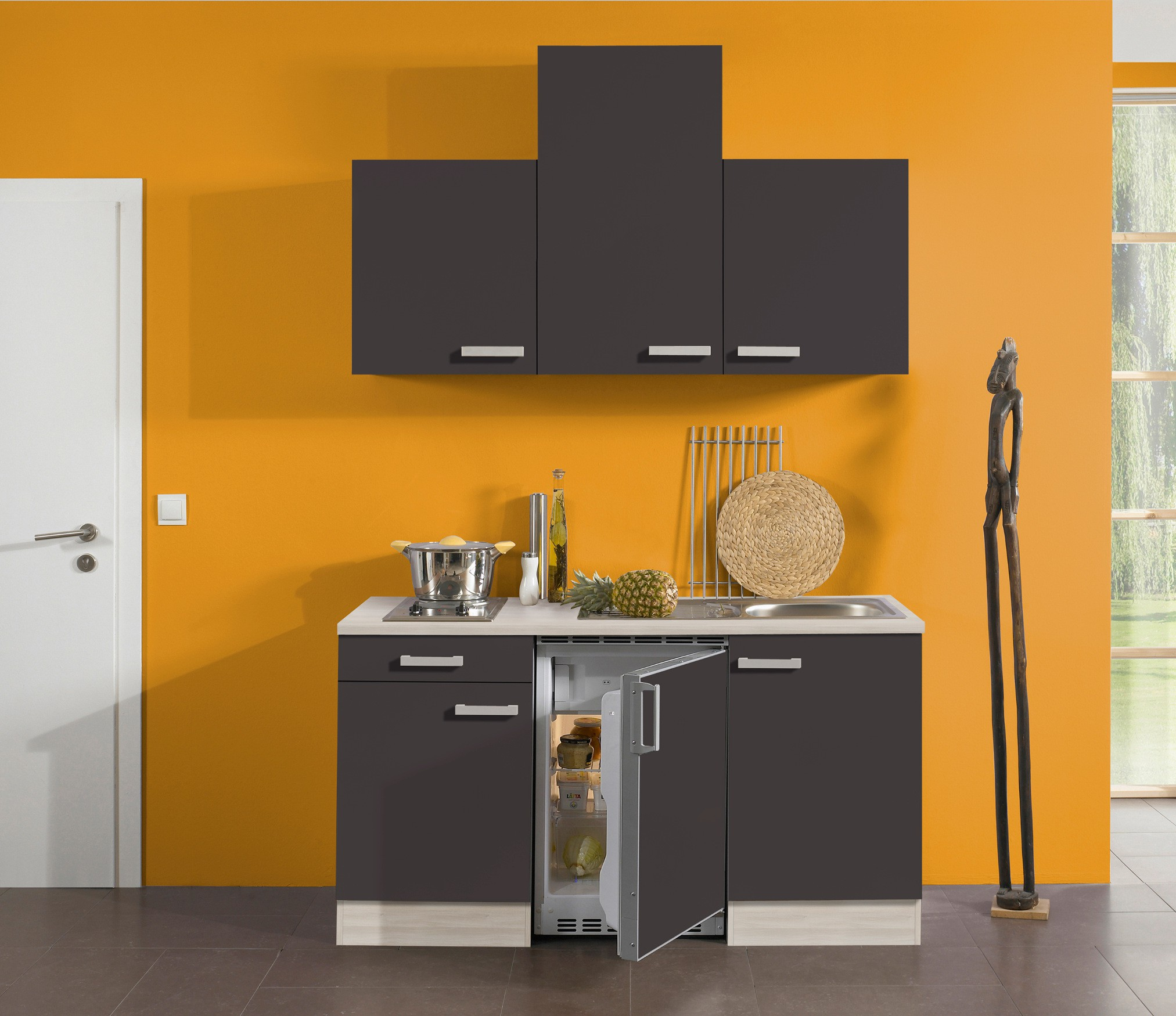 singlek che barcelona vario 2 mit elektro kochfeld breite 150 cm grau k che. Black Bedroom Furniture Sets. Home Design Ideas