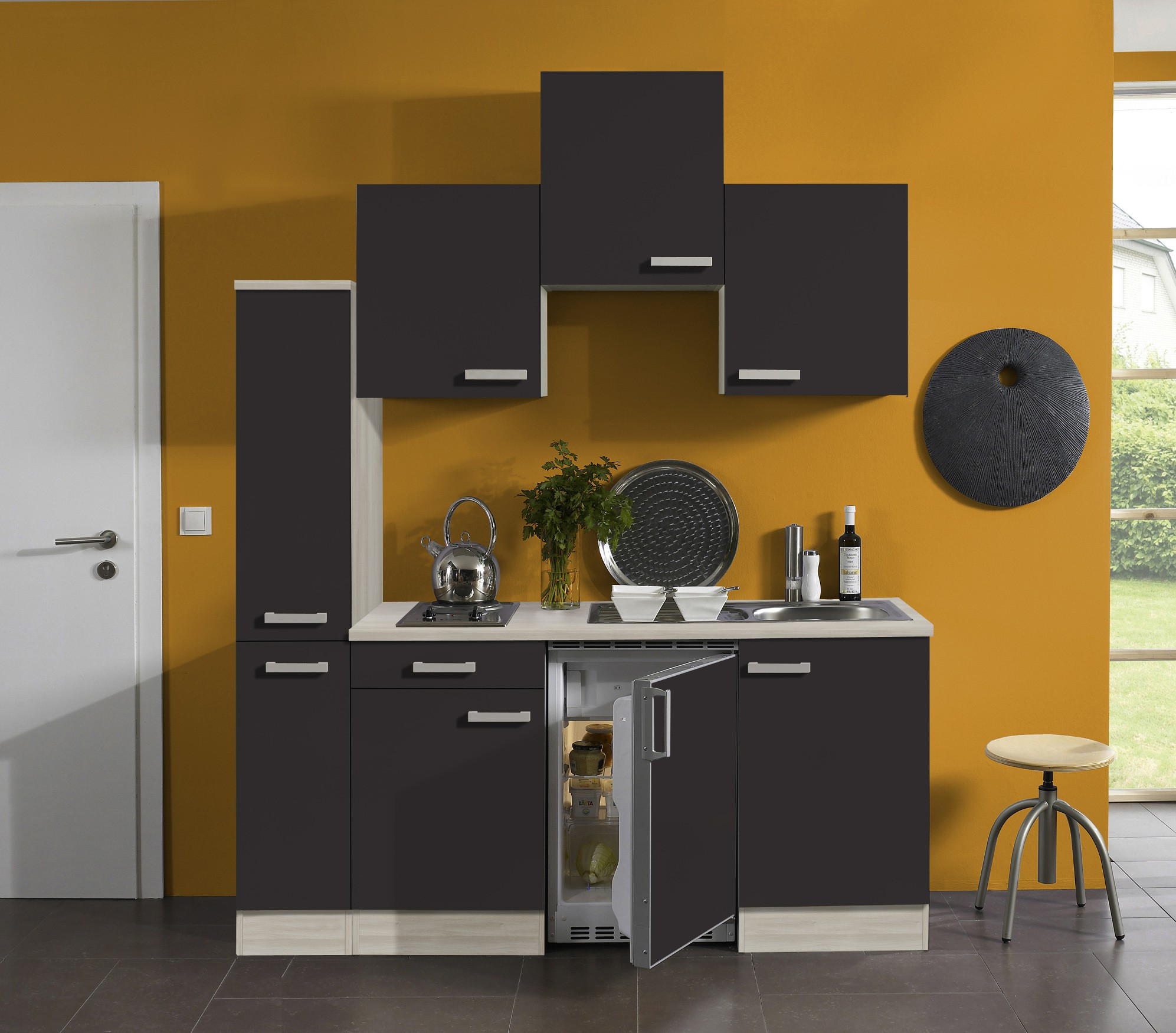 singlek che barcelona vario 1 mit elektro kochfeld breite 180 cm grau k che. Black Bedroom Furniture Sets. Home Design Ideas