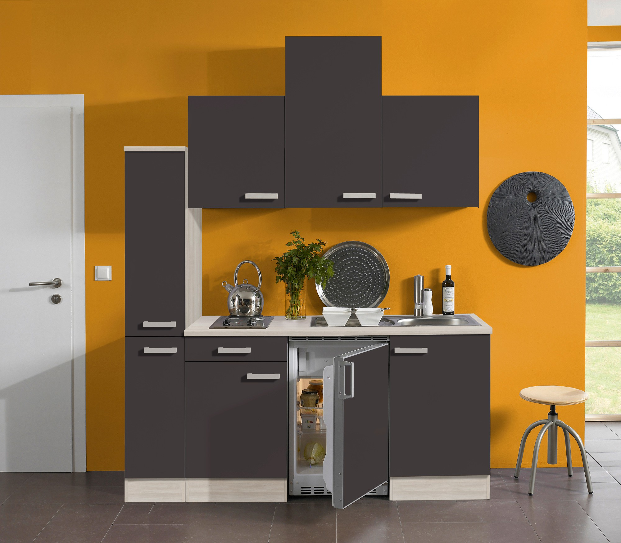 singlek che barcelona vario 2 mit elektro kochfeld breite 180 cm grau k che. Black Bedroom Furniture Sets. Home Design Ideas
