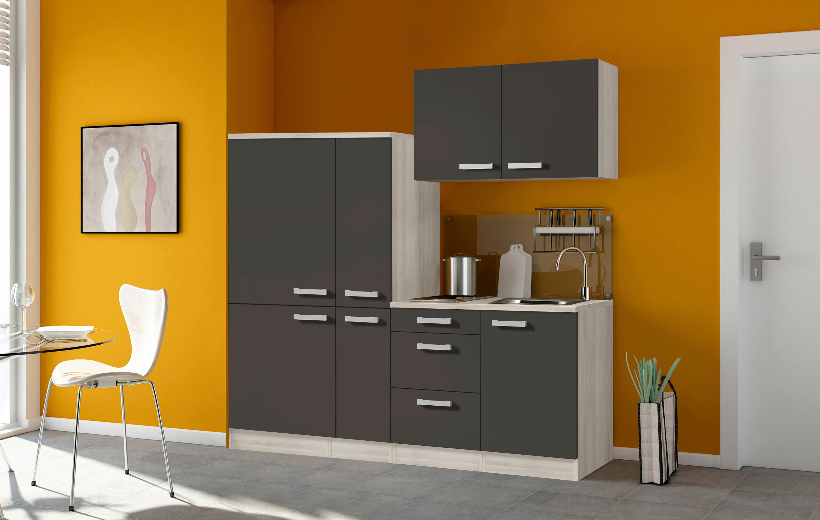 singlek che barcelona mit elektro kochfeld breite 190 cm grau k che. Black Bedroom Furniture Sets. Home Design Ideas
