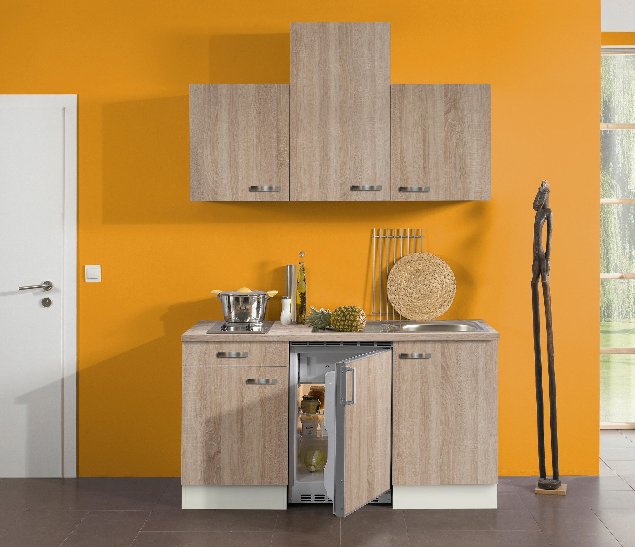 singlek che toledo vario 2 mit elektro kochfeld breite 150 cm eiche k che singlek chen. Black Bedroom Furniture Sets. Home Design Ideas