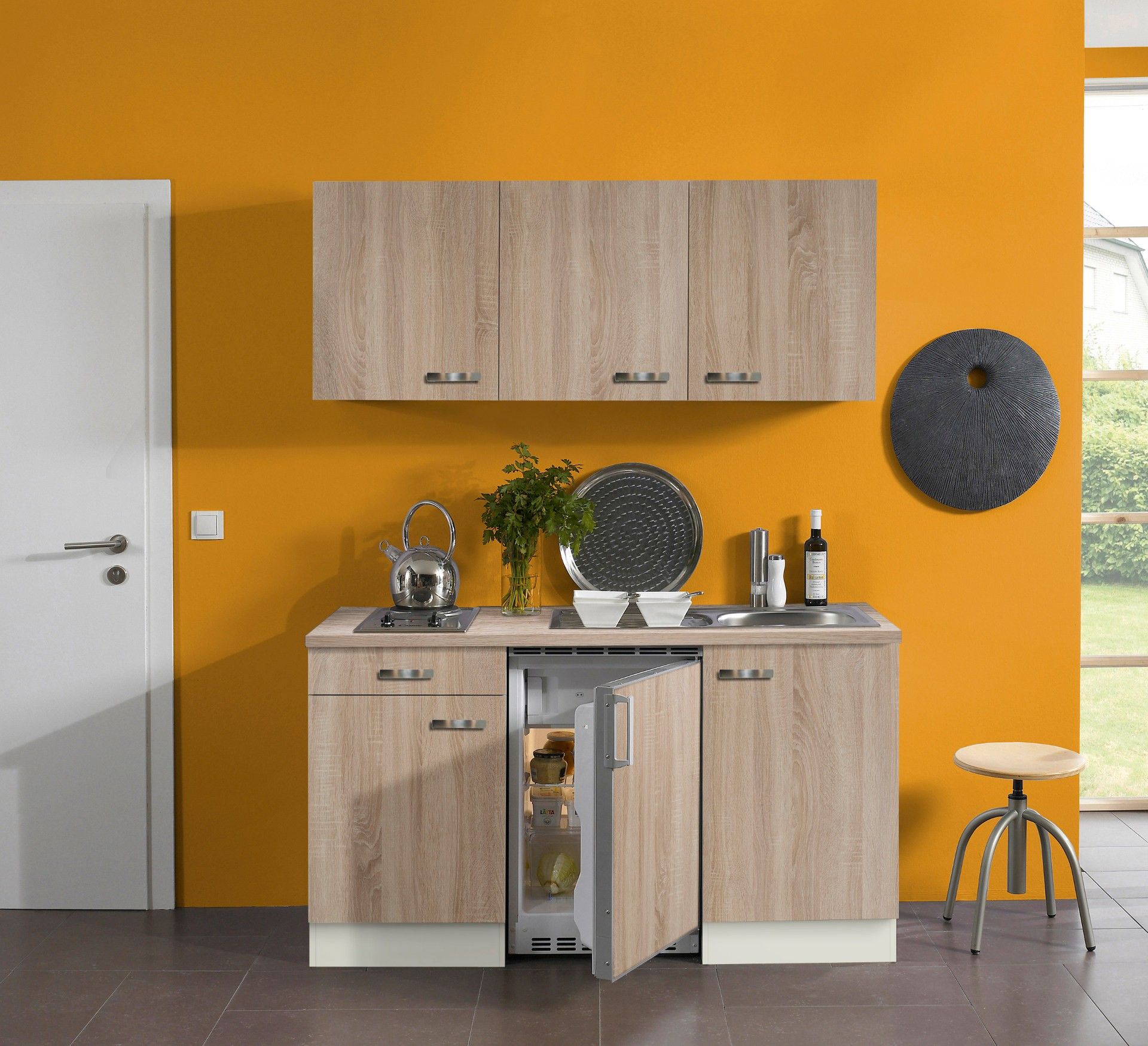 singlek che toledo mit elektro kochfeld 8 teilig breite 150 cm eiche k che singlek chen. Black Bedroom Furniture Sets. Home Design Ideas