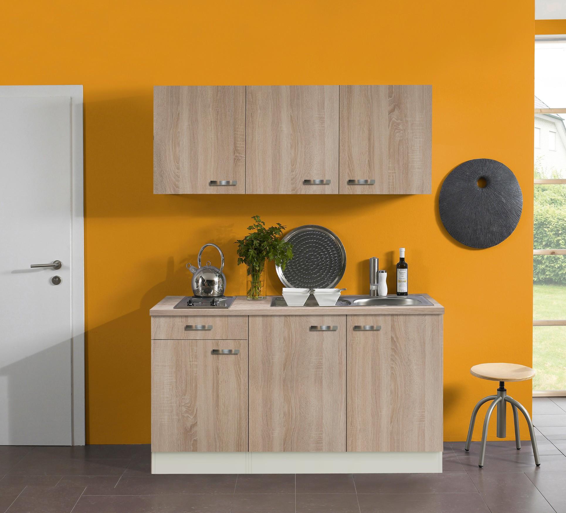 singlek che toledo mit elektro kochfeld 7 teilig breite 150 cm eiche k che singlek chen. Black Bedroom Furniture Sets. Home Design Ideas