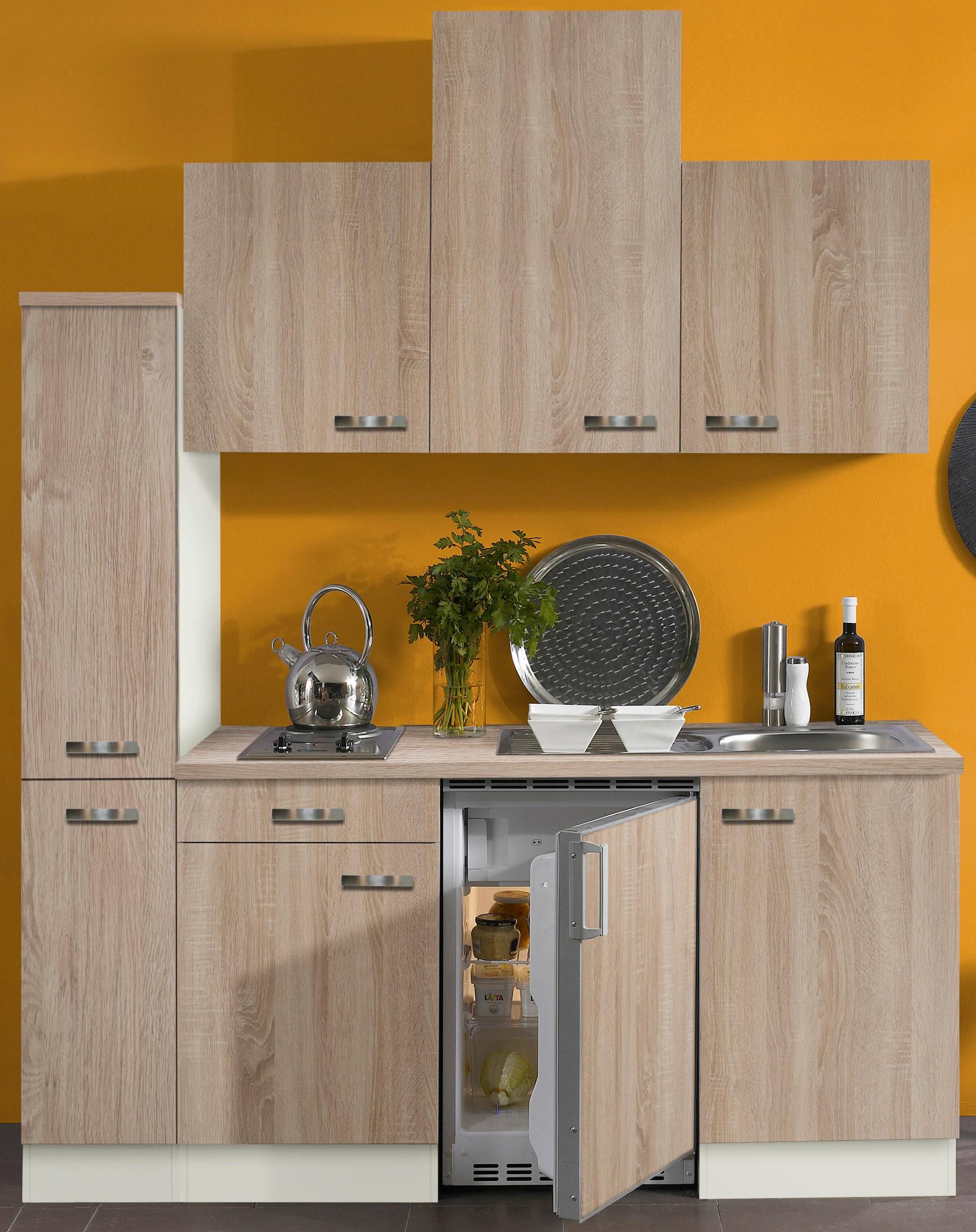 singlek che toledo vario 2 mit elektro kochfeld breite 180 cm eiche k che singlek chen. Black Bedroom Furniture Sets. Home Design Ideas