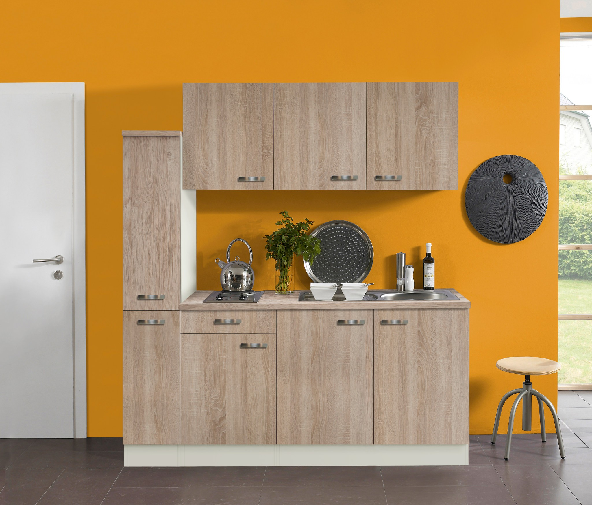 singlek che toledo mit elektro kochfeld 8 teilig breite 180 cm eiche k che singlek chen. Black Bedroom Furniture Sets. Home Design Ideas
