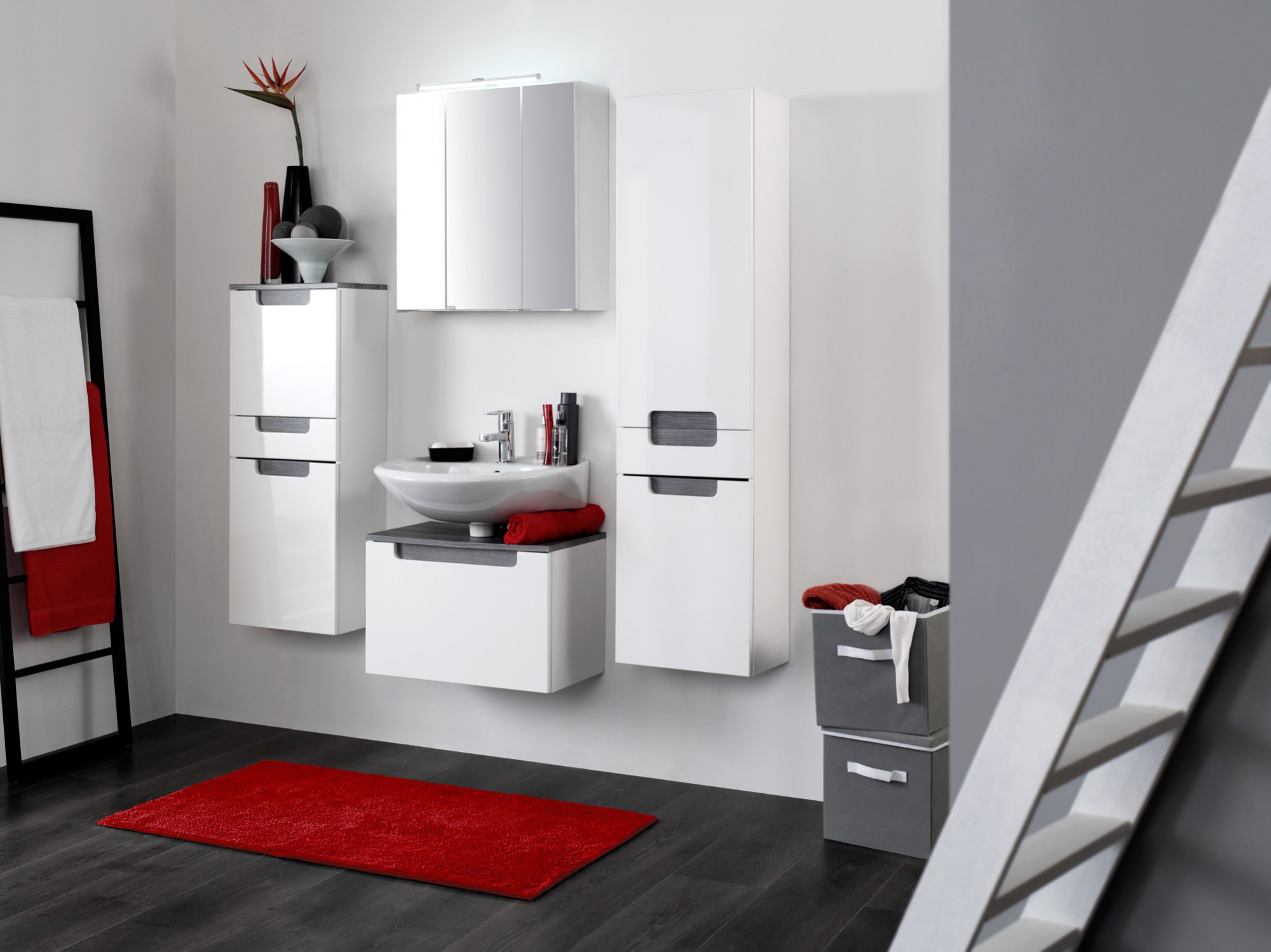 bad hochschrank siena 2 t rig 1 schublade 40 cm breit hochglanz wei rauchsilber bad siena. Black Bedroom Furniture Sets. Home Design Ideas