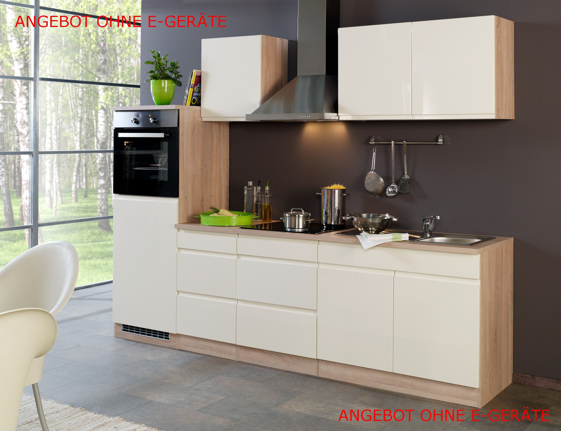 neu k chen leerblock k chenzeile cardiff k chenblock 270cm hochglanz creme ebay. Black Bedroom Furniture Sets. Home Design Ideas