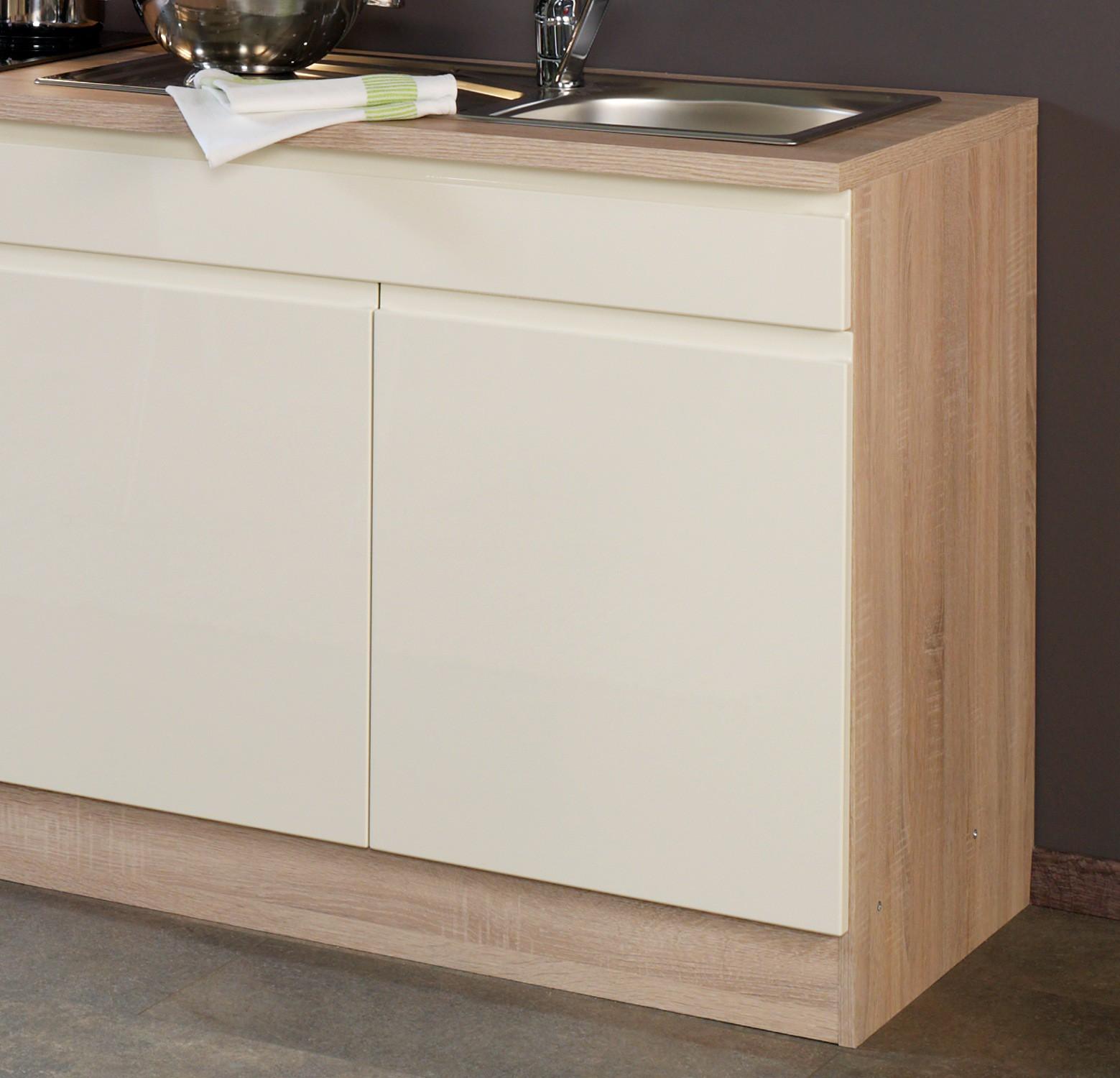 Küchenzeile CARDIFF - Küche mit E-Geräten - Breite 270 cm - Hochglanz Creme Küche Küchenzeilen