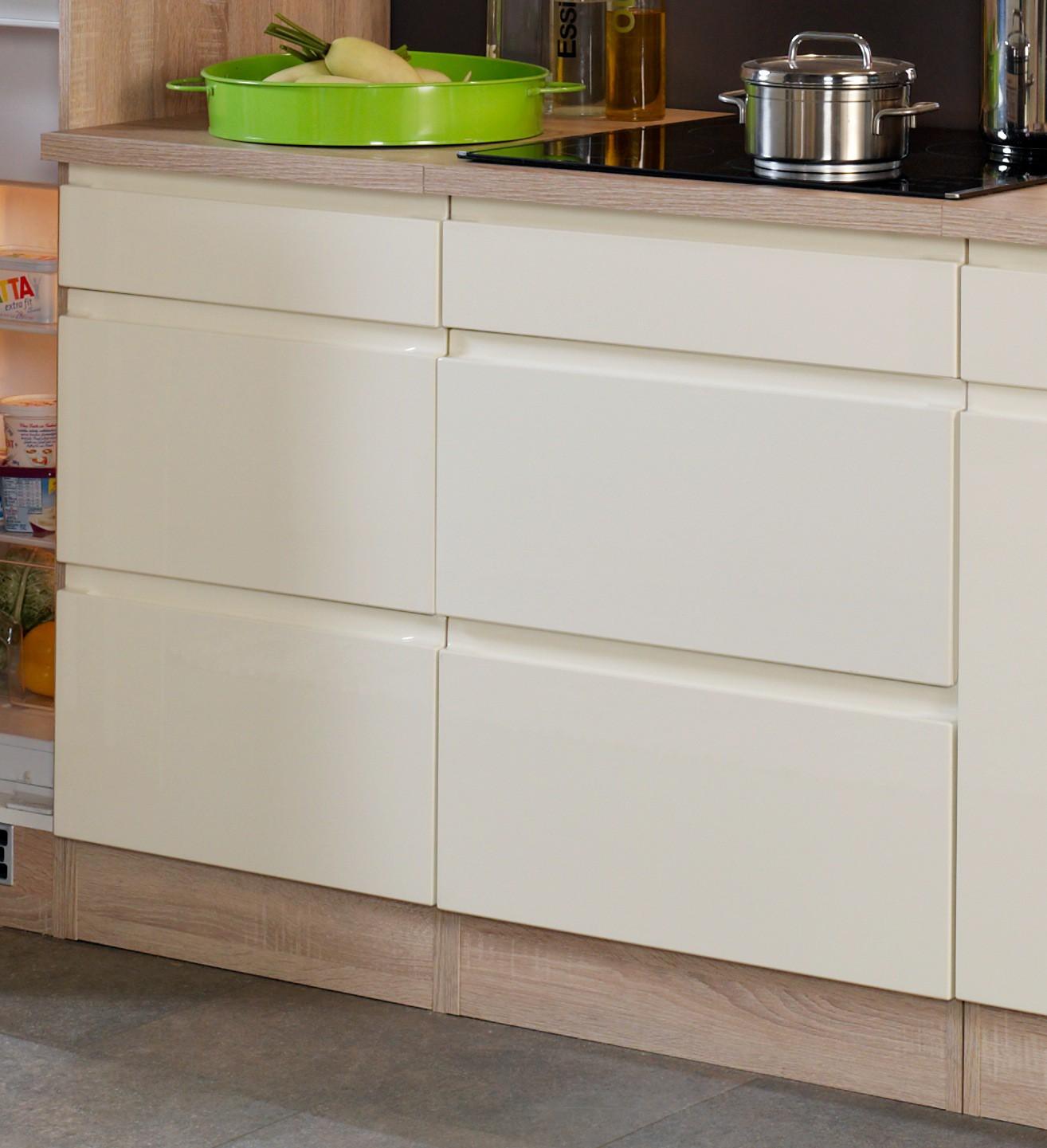 neu k chenzeile cardiff k chenblock 270cm hochglanz creme sonoma mit e ger ten ebay. Black Bedroom Furniture Sets. Home Design Ideas