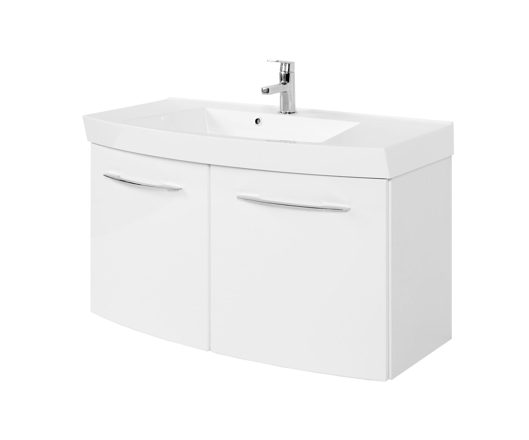 Schön Bad-Waschtisch FLORIDA - 2 Türen - 100 cm breit - Hochglanz Weiß  JD98