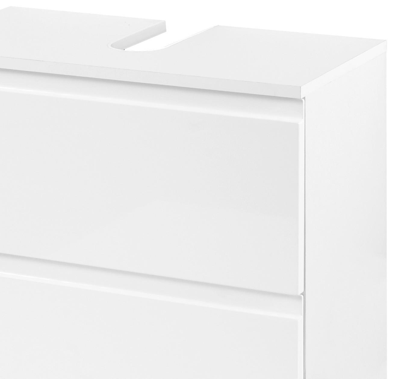 Bad waschbeckenunterschrank cardiff 1 auszug 1 klappe 60 cm breit hochglanz wei bad cardiff for Bad waschbeckenunterschrank