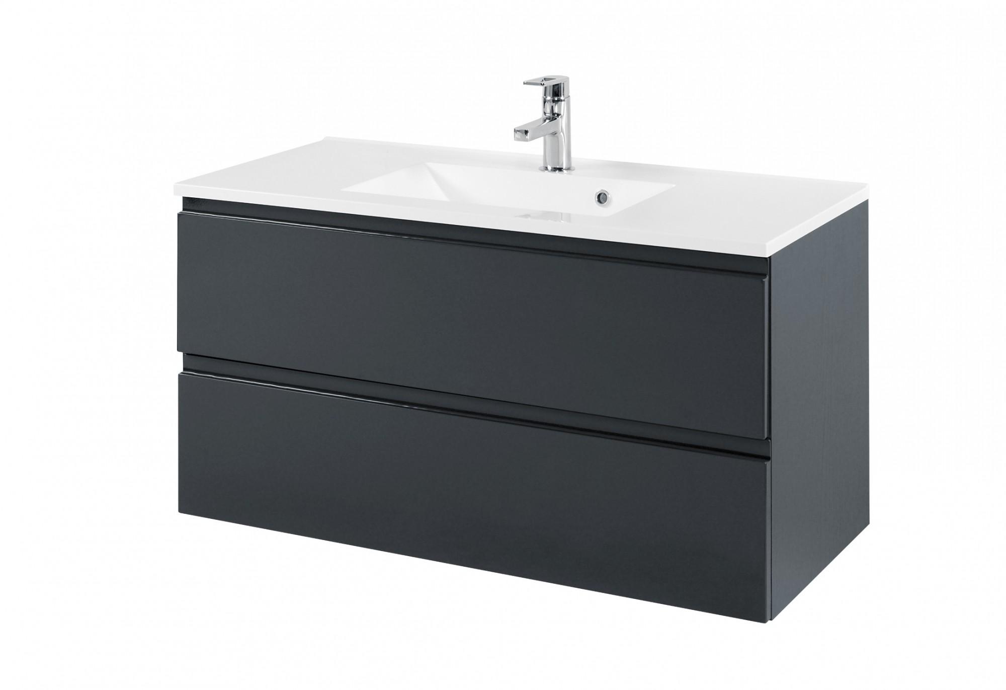 Schön Bad-Waschtisch CARDIFF - 2 Auszüge - 100 cm breit - Hochglanz Grau  JD98