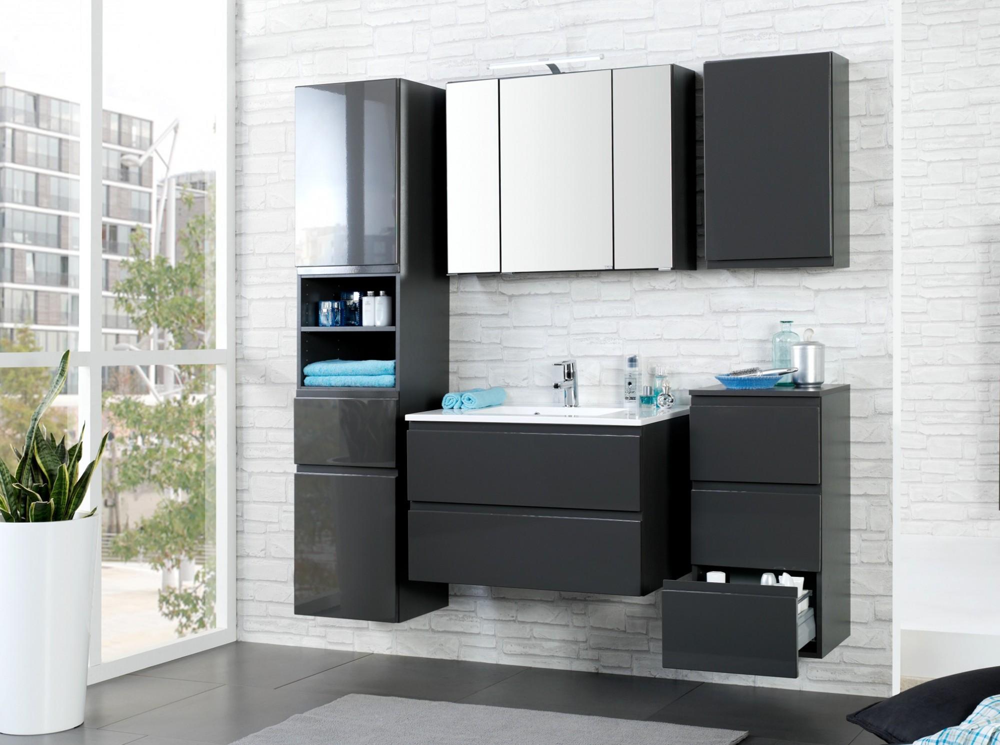 neu badezimmer waschtisch mit becken cardiff waschplatz 60 cm grau ebay